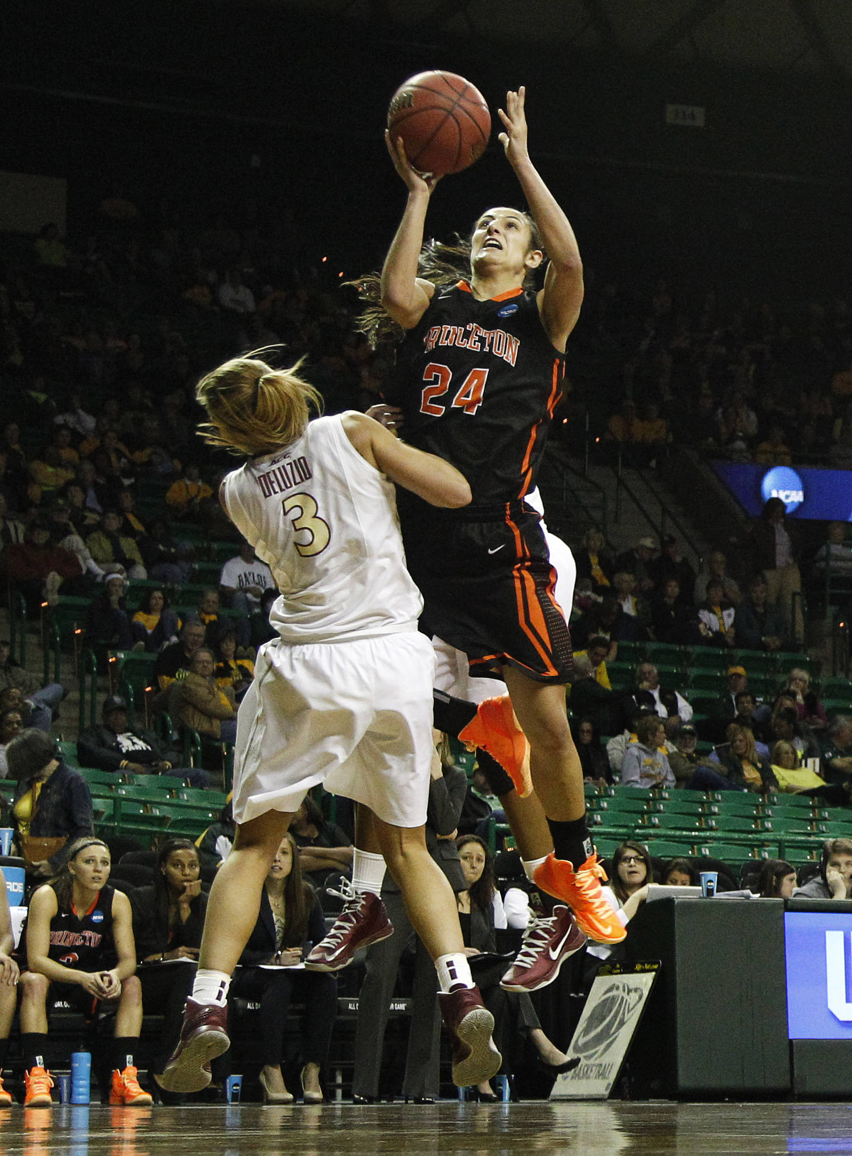 Princeton guard Niveen Rasheed (24) shoots over Florida State's Alexa Deluzio (3) in the second half of a first-round game in the women's NCAA college basketball tournament on Sunday March 24, 2013, in Waco, Texas. FSU won 60-44. (AP Photo/Tony Gutierrez)