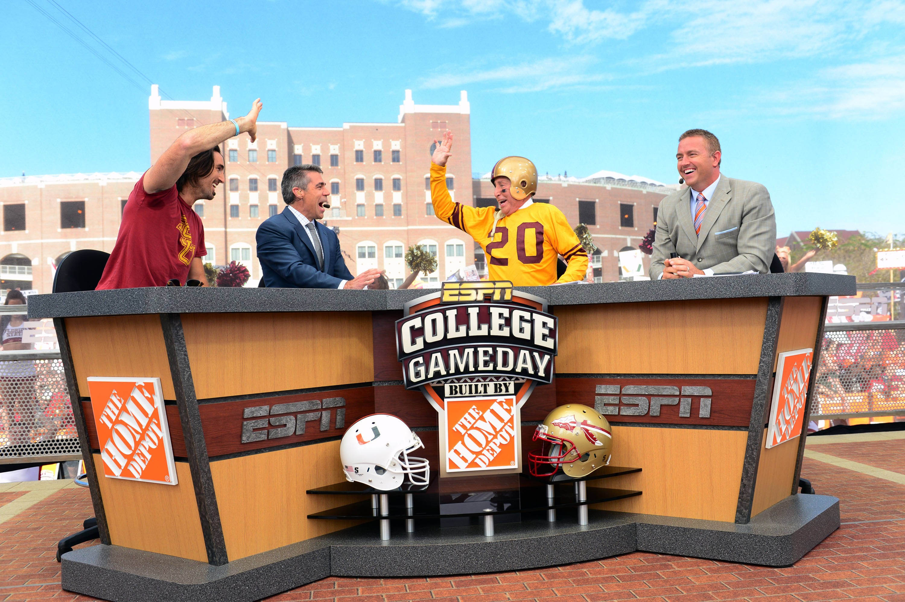 Tallahassee, FL - November 2, 2013 - Doak Campbell Stadium: Jake Owen, Chris Fowler, Lee Corso and Kirk Herbstreit on the set of College GameDay Built by the Home Depot