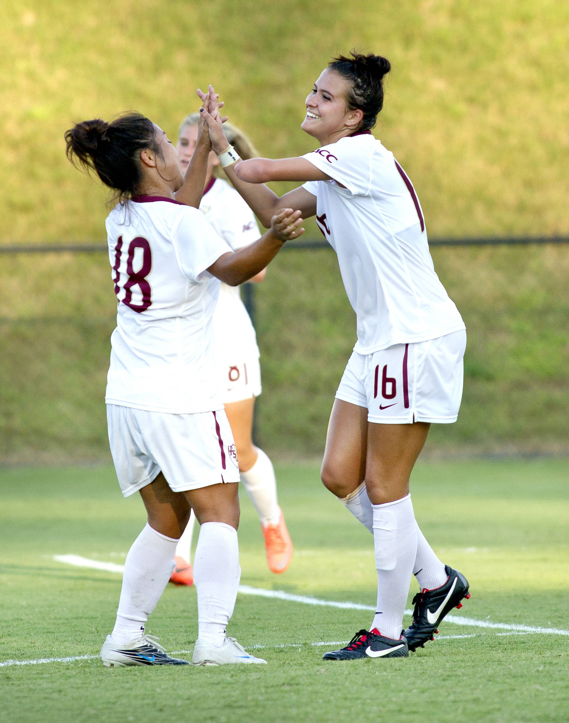 Carson Pickett (16) celebrating scoring her first goal, FSU vs Jackson State, 9/21/12 (Photo by Steve Musco)