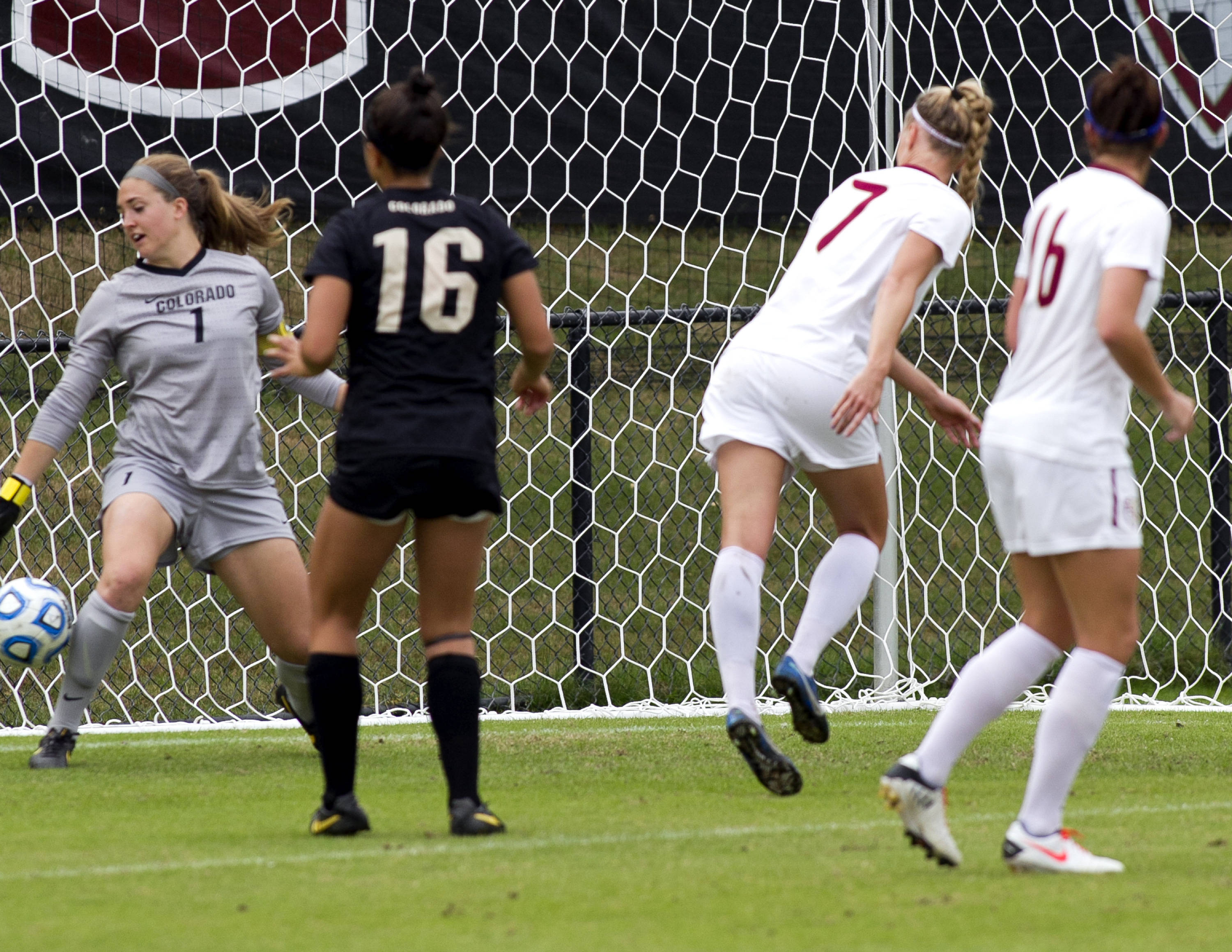 Dagny Brynjarsdottir (7) scoring her second goal on a header, FSU vs Colorado, 11-23-13, 3rd round NCAA Tournament (Photo by Steve Musco)