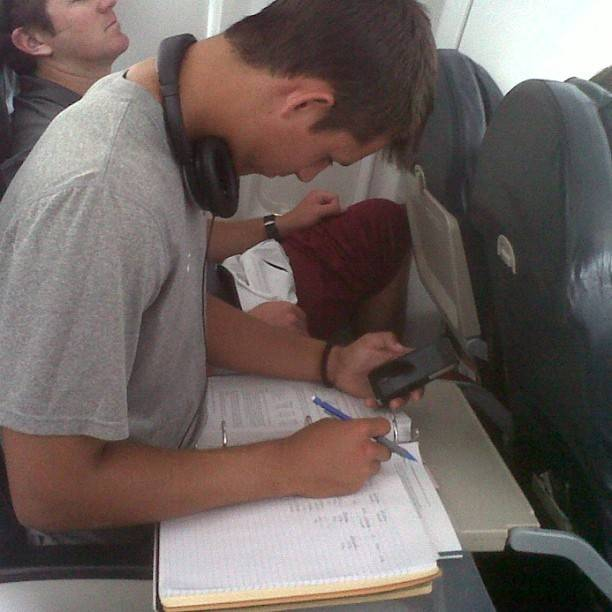 From Andres Bucaro: Blake (Davis) the epitome of a student-athlete. Getting work done on our flight up to ACC's. Get it Blake!!!