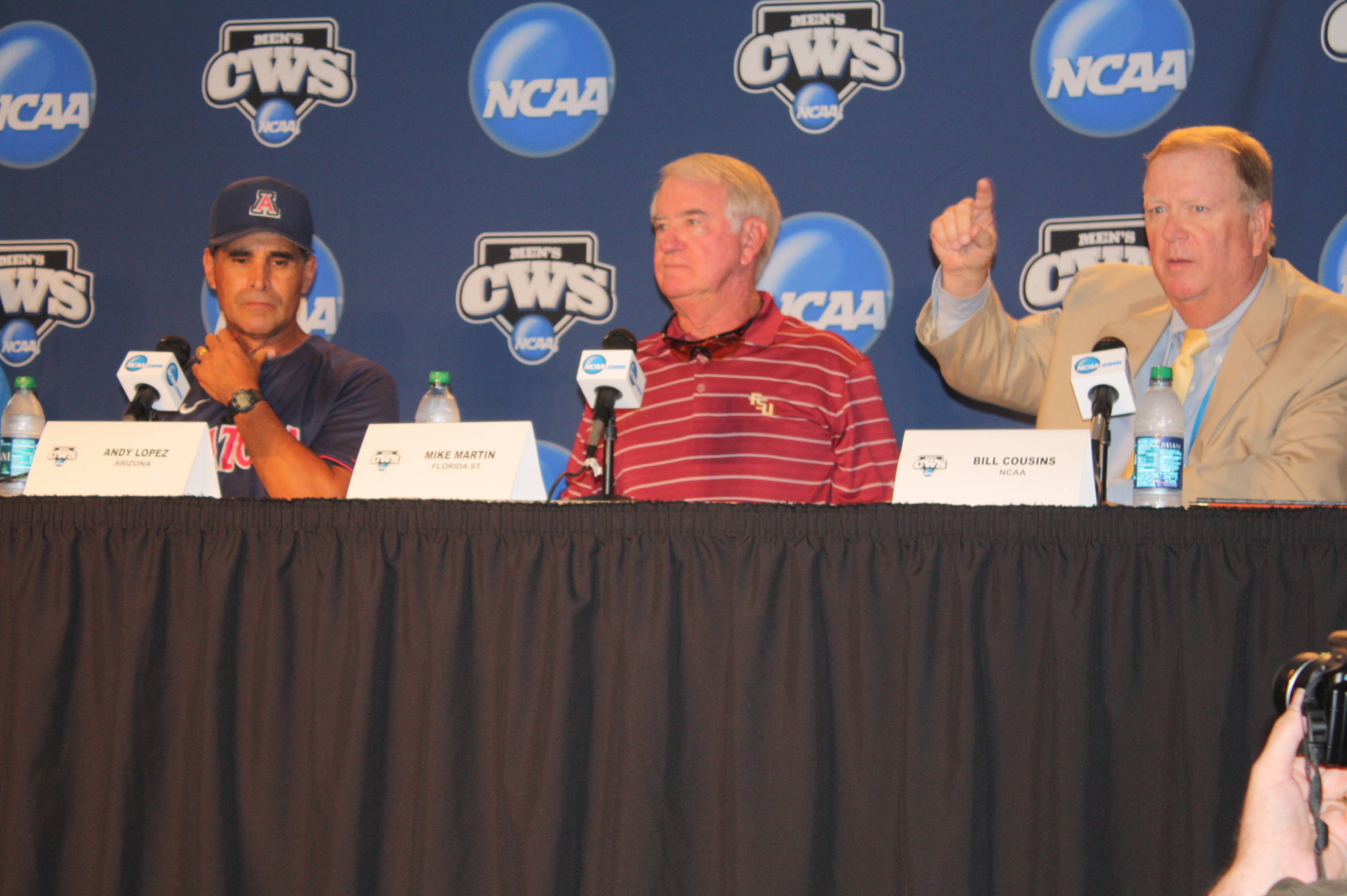 FSU head coach Mike Martin addresses the media at the CWS Coaches Press Conference