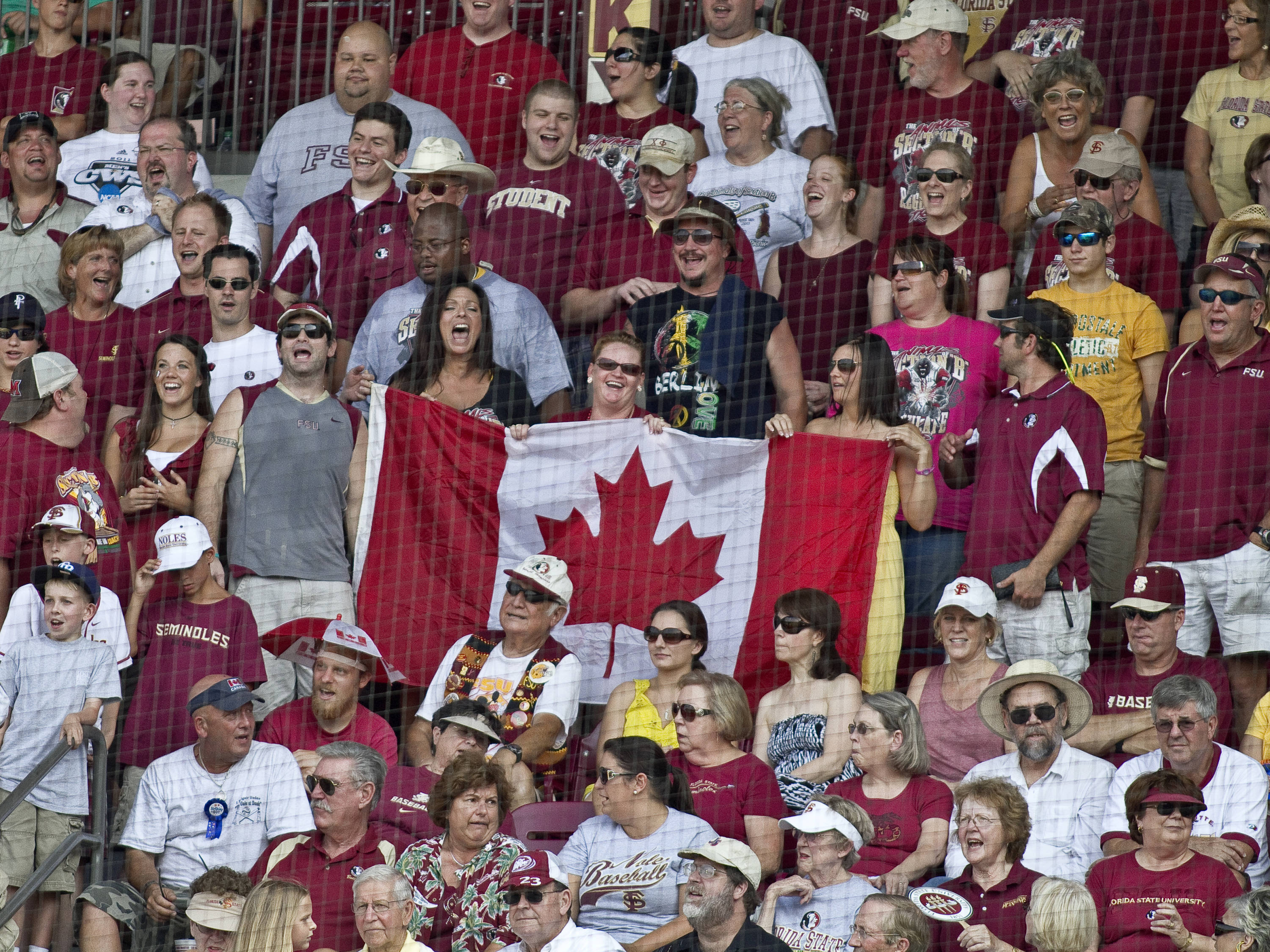 "Section B fans singing ""O, Canada"""