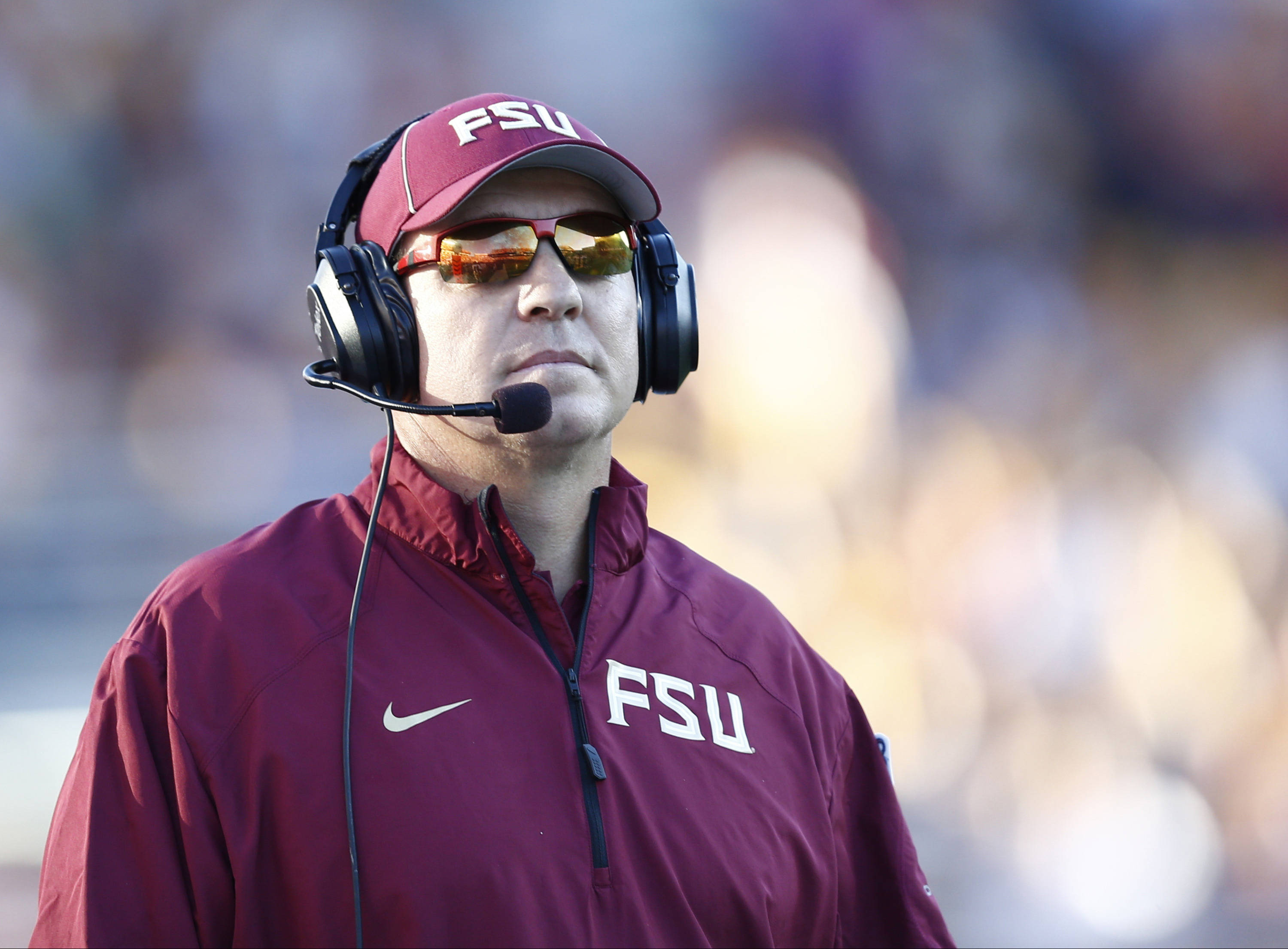 Sep 28, 2013; Boston, MA, USA; Florida State Seminoles head coach Jimbo Fisher during the first half of a game against the Boston College Eagles at Alumni Stadium. Mandatory Credit: Mark L. Baer-USA TODAY Sports