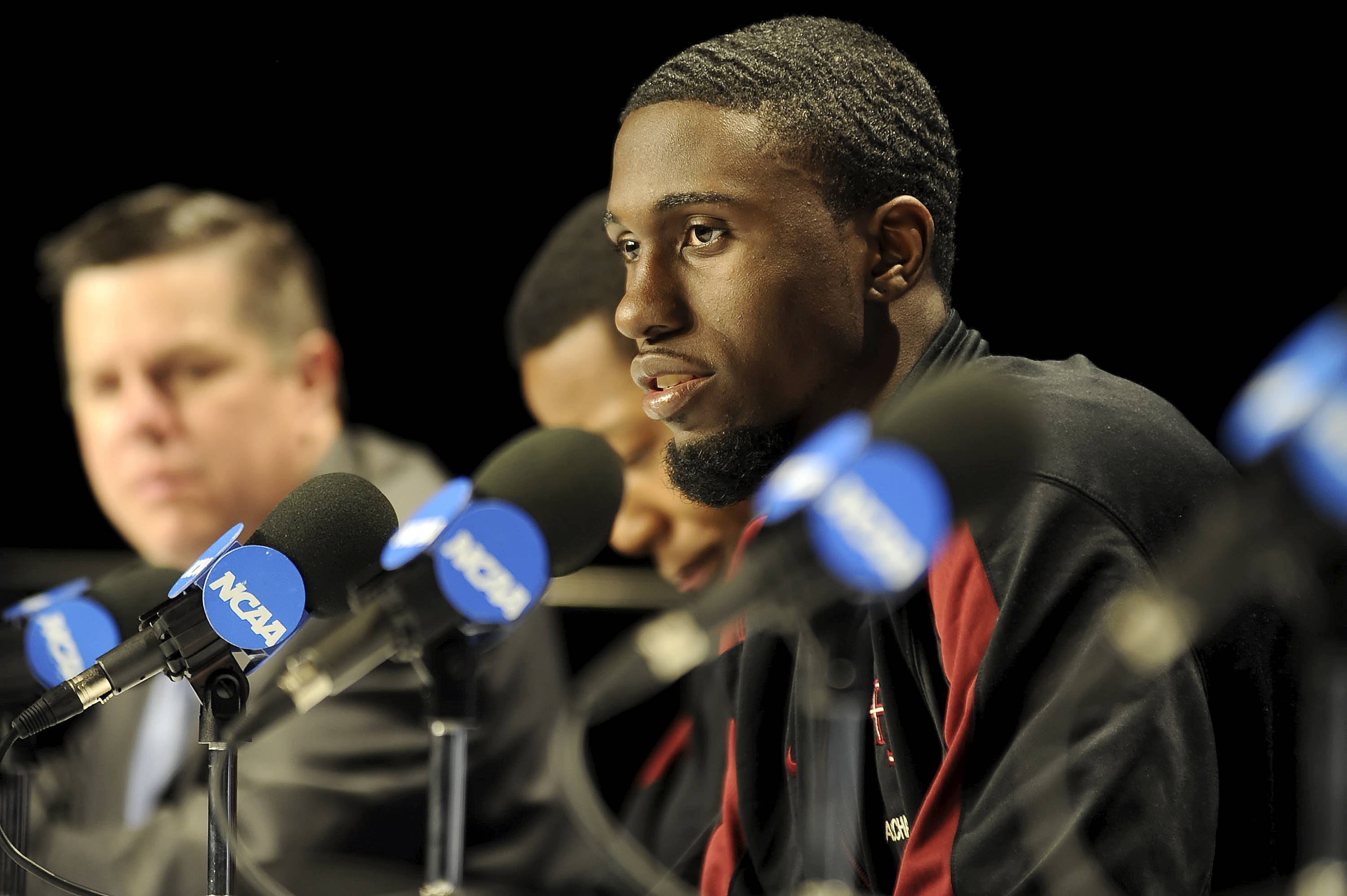 Okaro White answers reporters' questions in preparation for FSU's third-round game against Cincinnati.