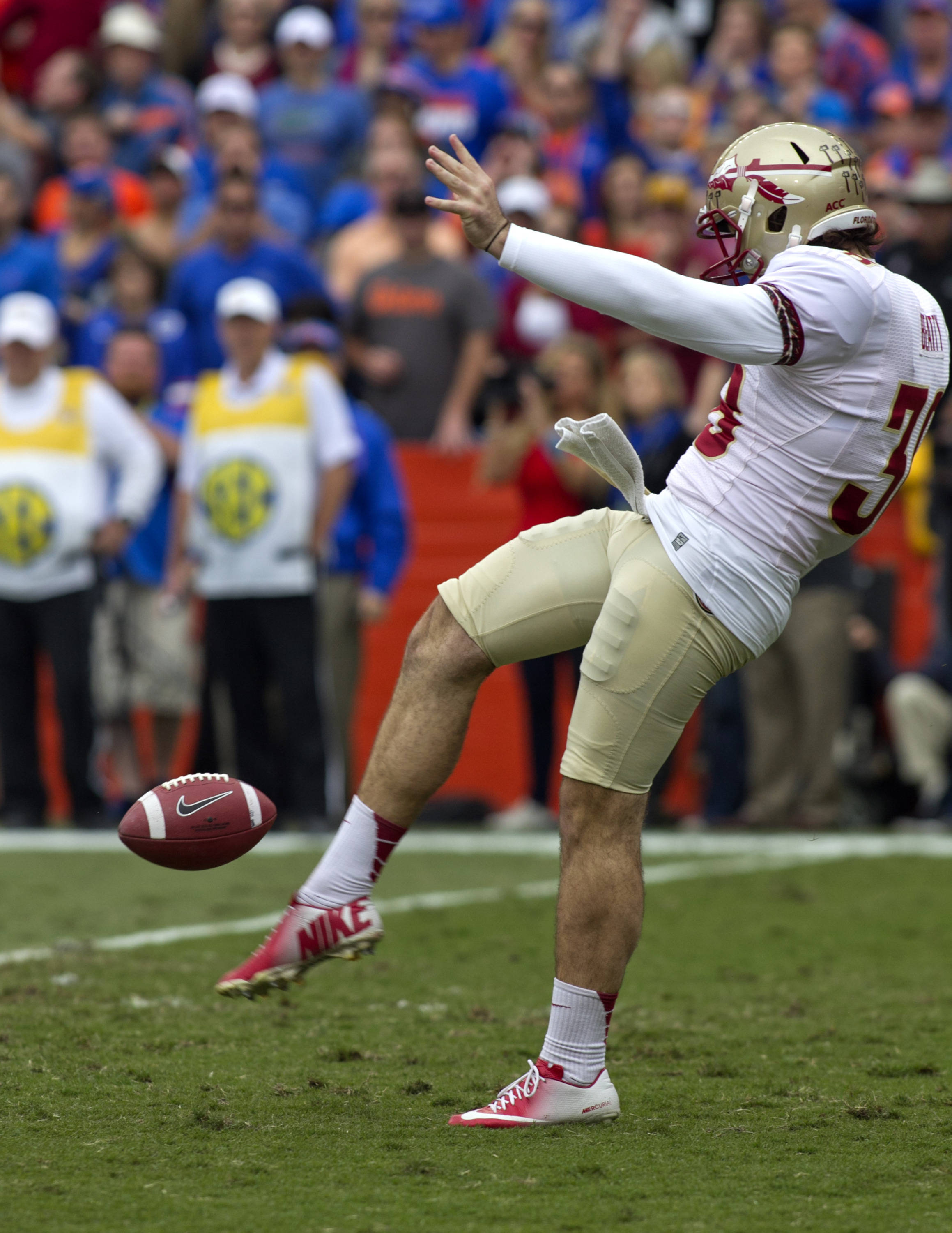 Cason Beatty (38), FSU vs Florida, 11-30-13,  (Photo by Steve Musco)