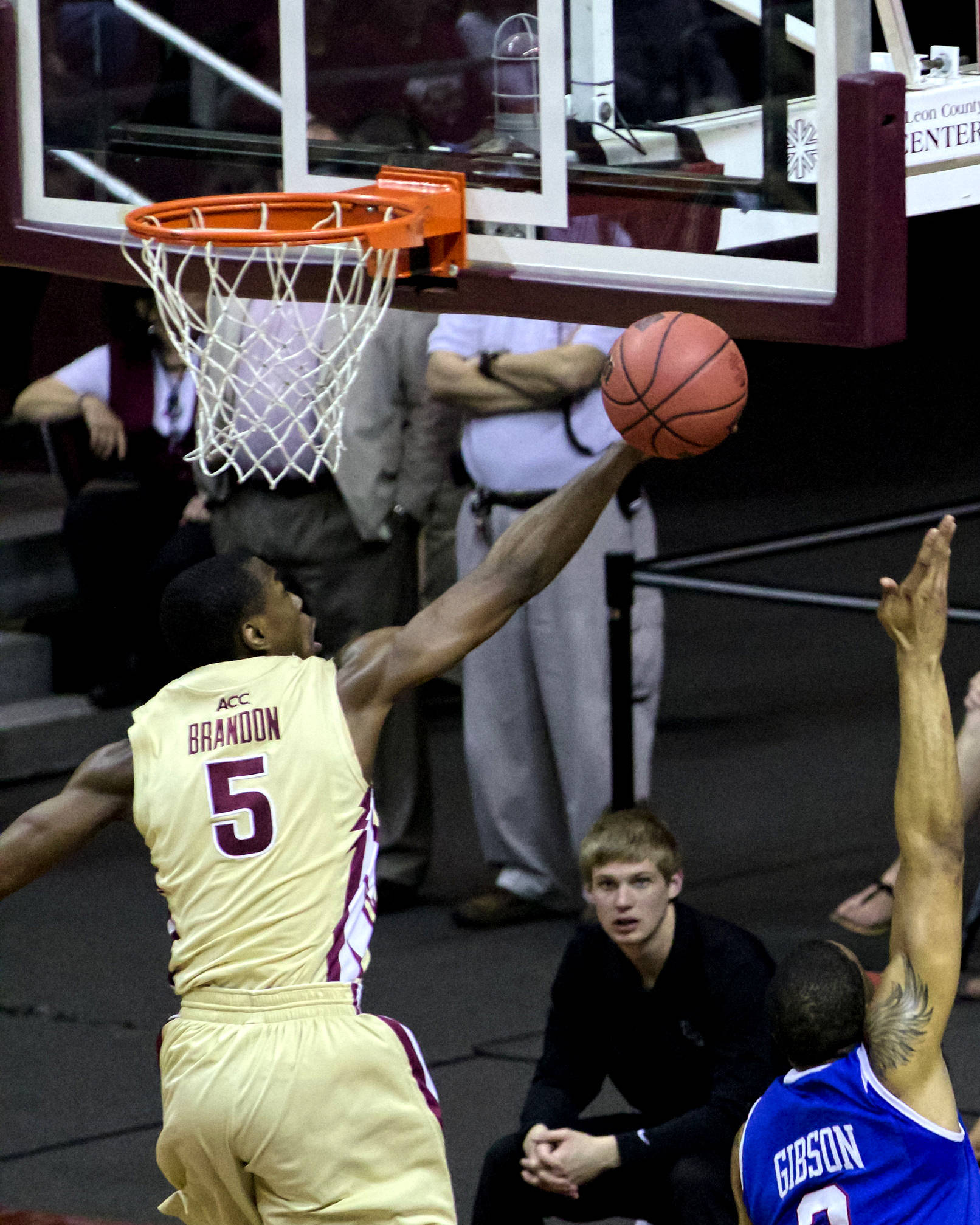 Montay Brandon (5), NIT First Round, FSU vs Louisiana Tech, 03/19/13 . (Photo by Steve Musco)