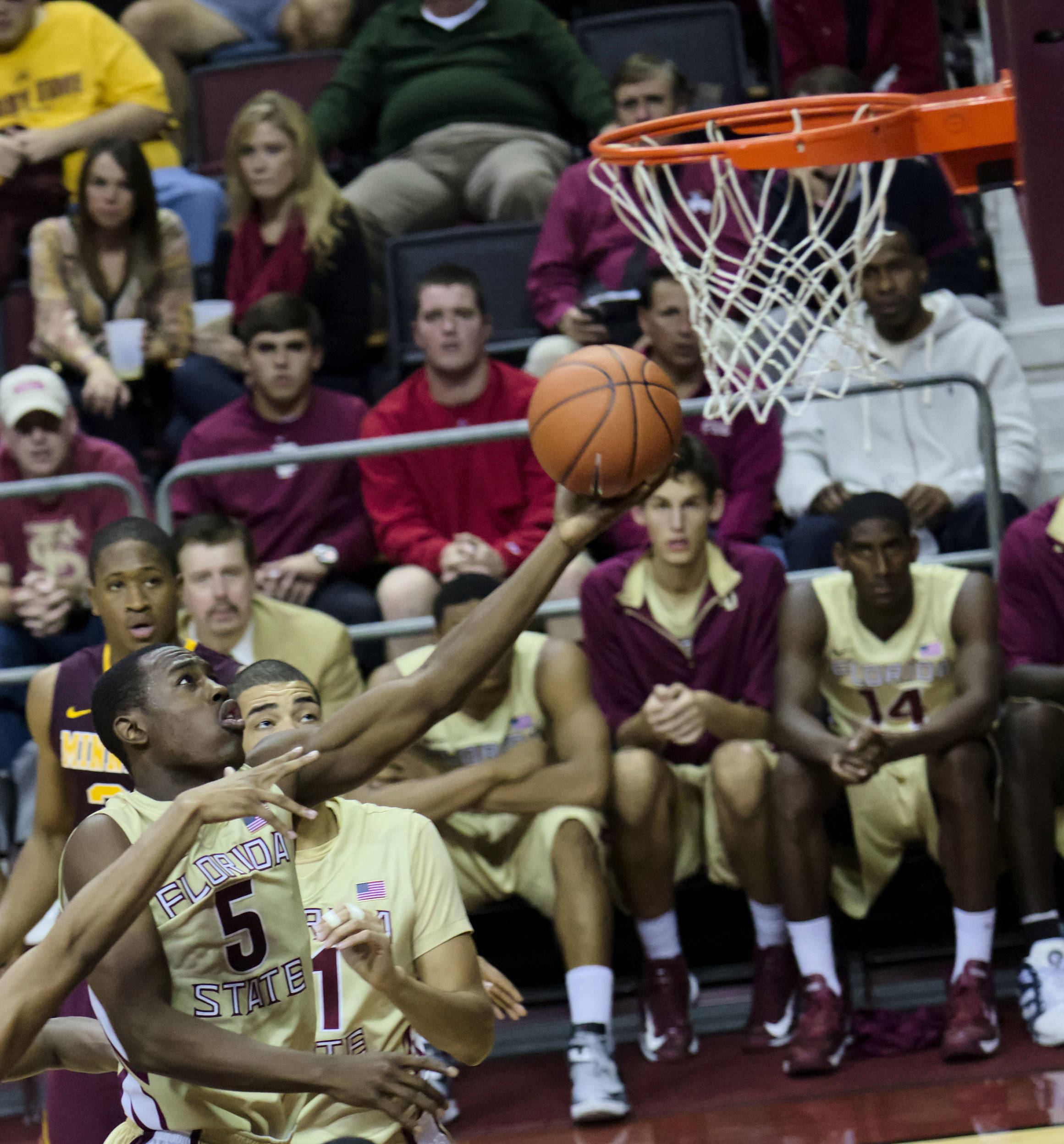 Montay Brandon (5), FSU vs Minnesota, 11/27/12. (Photo by Steve Musco)