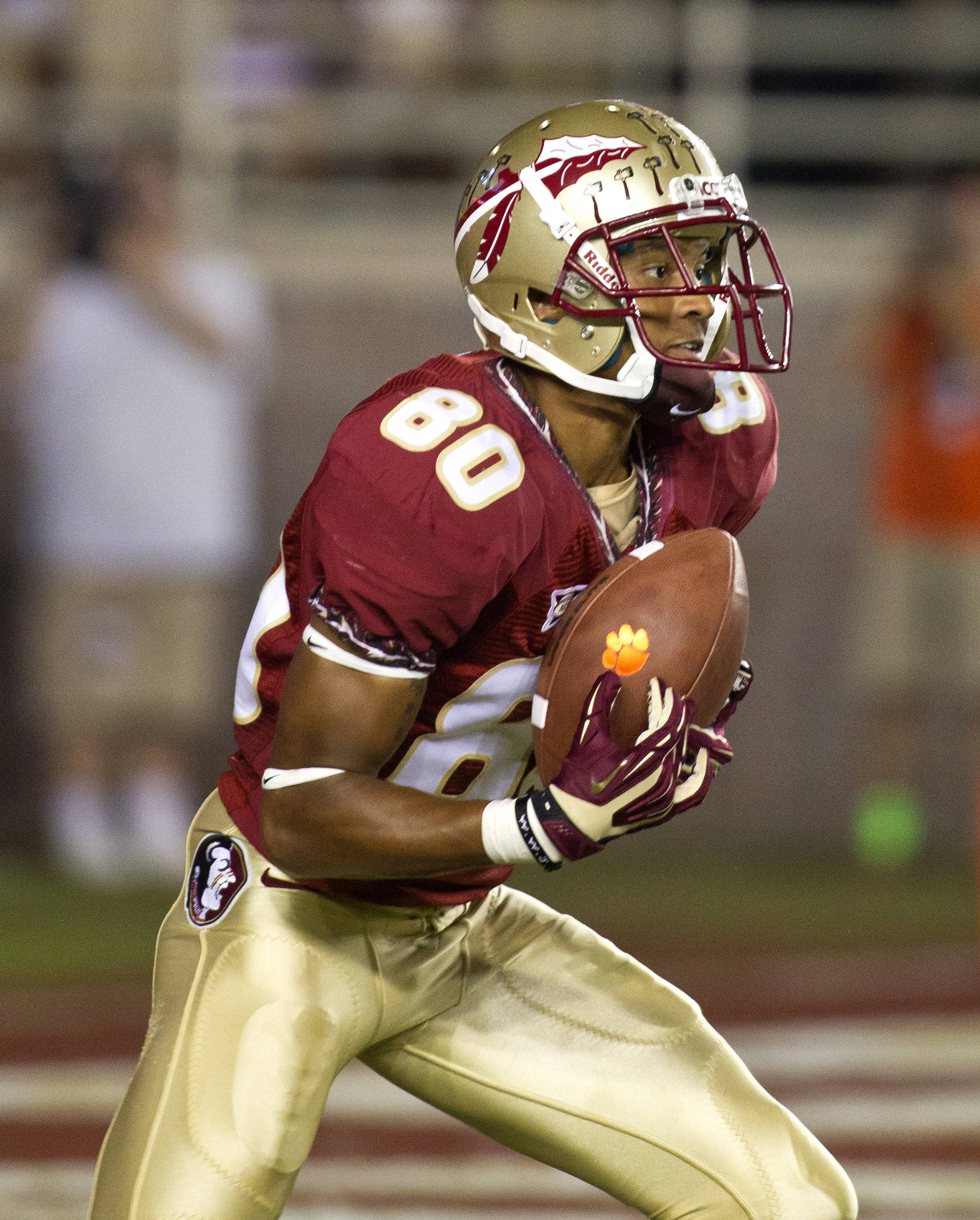 Rashad Greene (80) looking for an opening, FSU vs Clemson, 9/22/12 (Photo by Steve Musco)