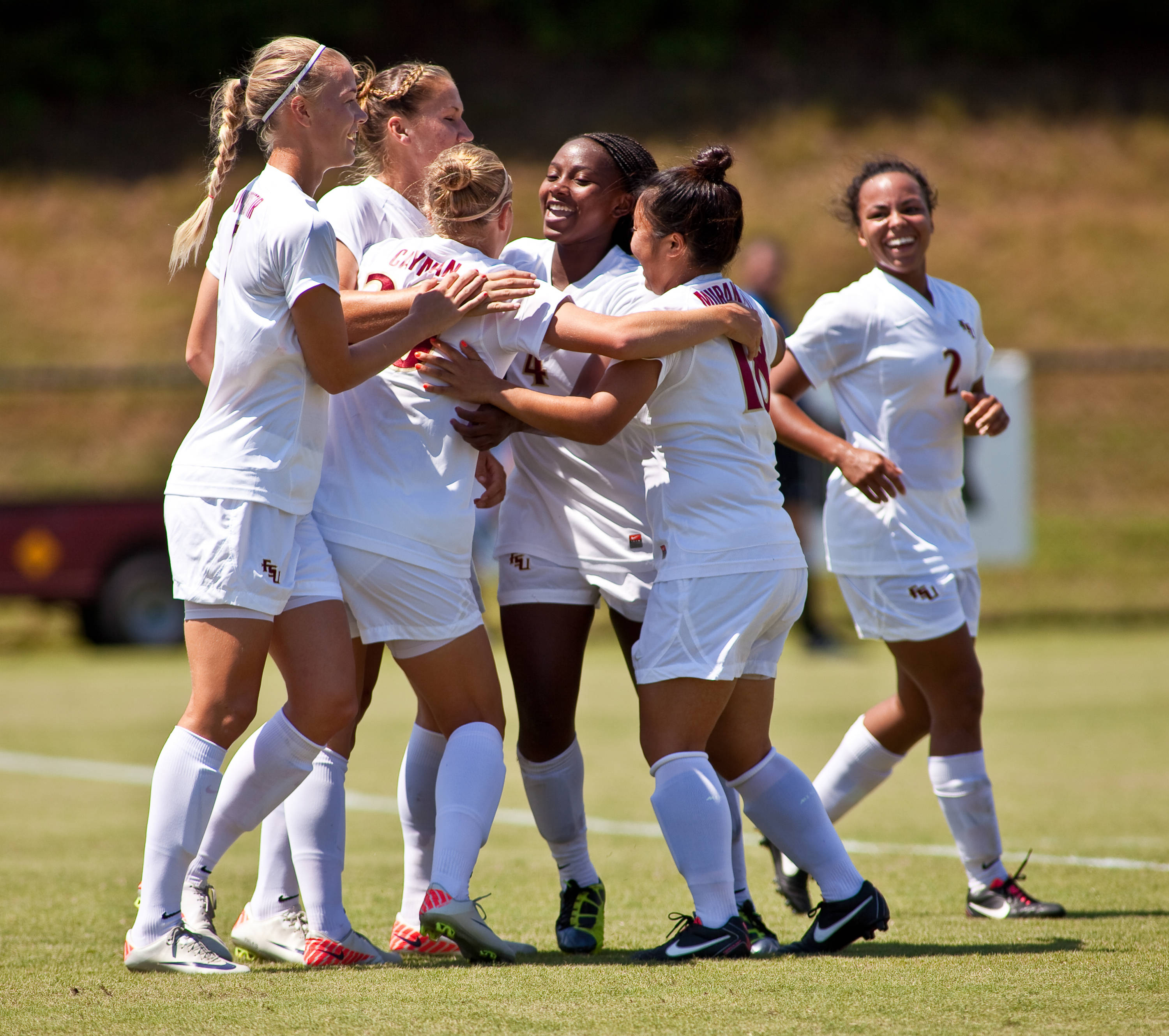 The Noles celebrate after taking a 3-0 lead on Tiana Brockway's first collegiate goal.