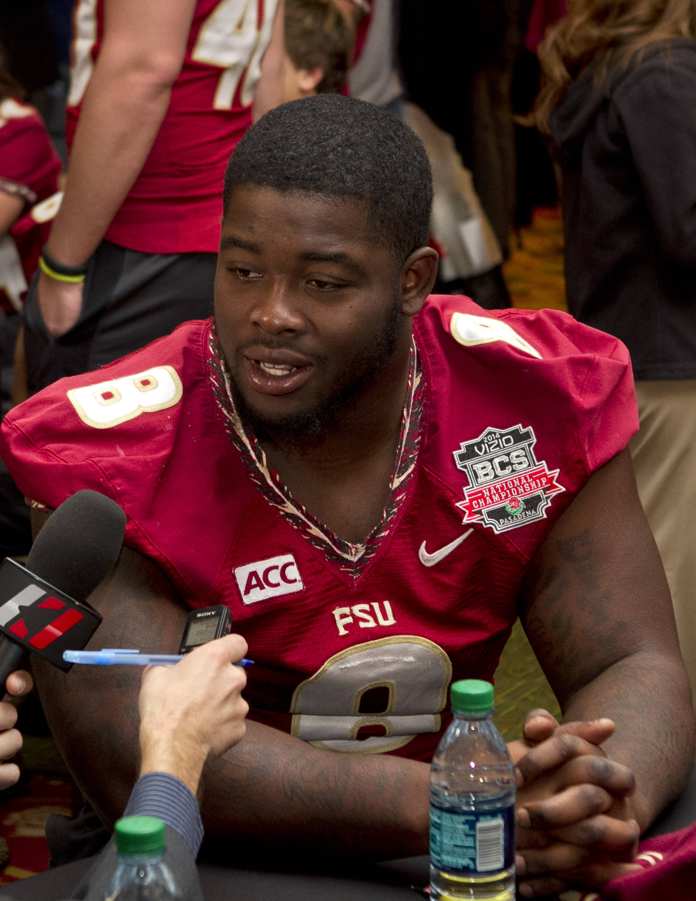 Timmy Jernigan (8), FSU at BCS Championship Media Day,  1-04-14,  (Photo by Steve Musco)