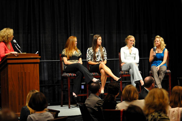 Junior Sarah Wagenfuhr (far right) takes part in a question and answer session with ESPN's Beth Mowins during the banquet.