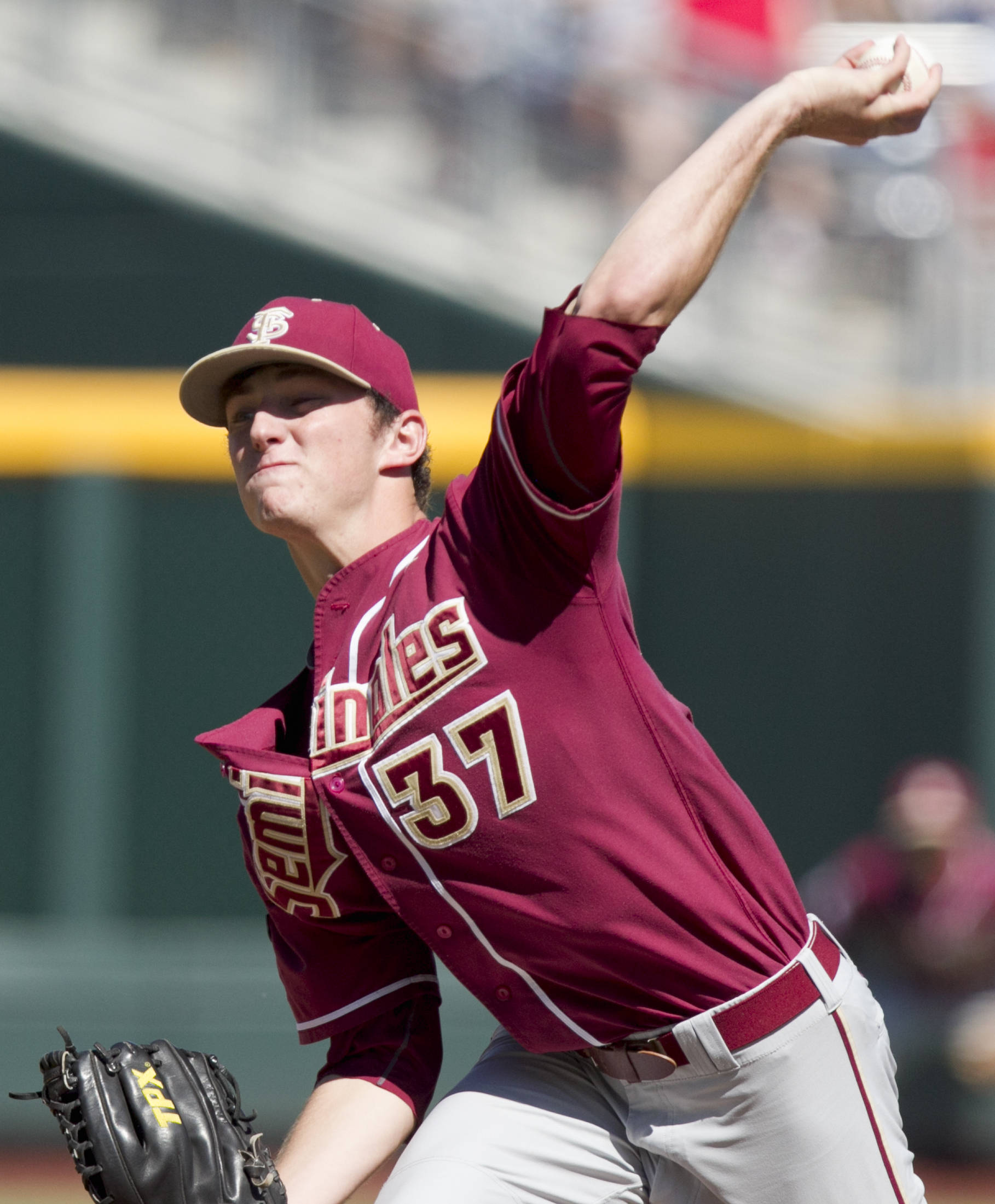 Florida State starting pitcher Brandon Leibrandt delivers against Arizona in the first inning. (AP Photo/Nati Harnik)