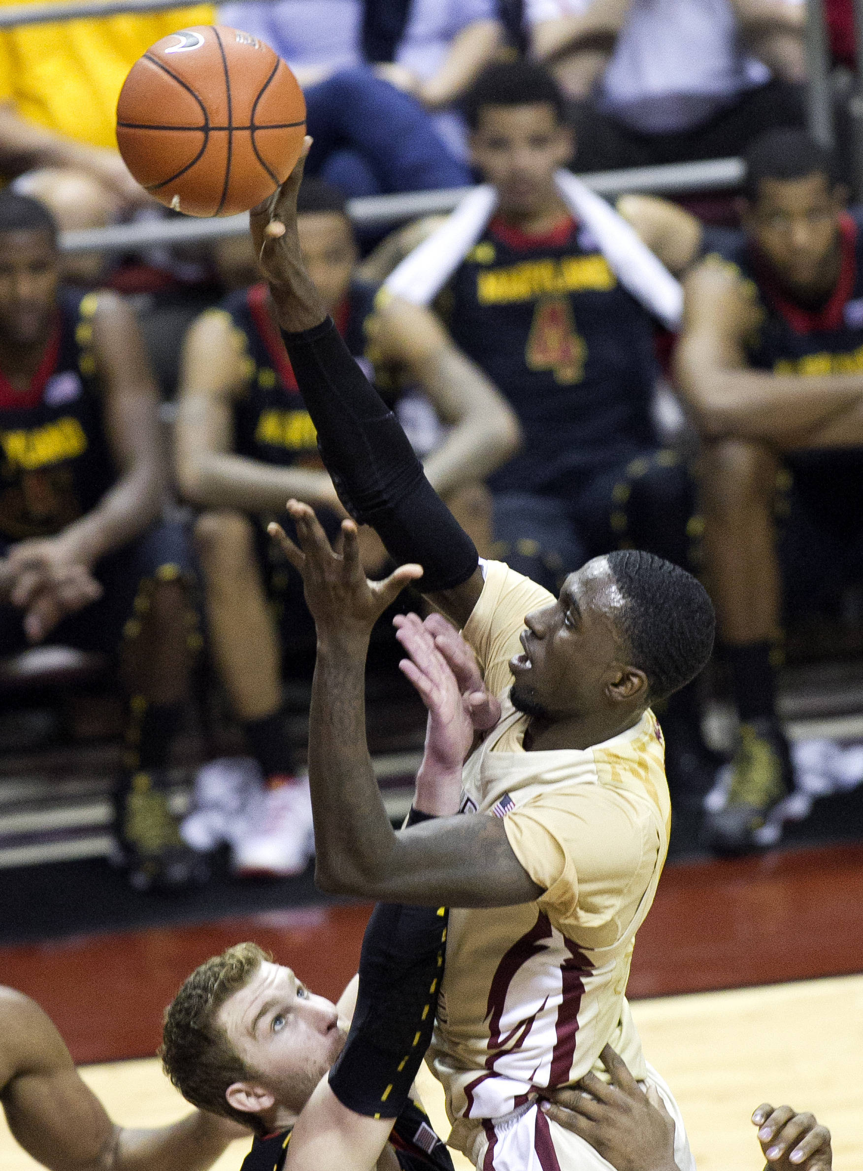 Okaro White (10), with a short jumper, FSU vs Maryland, 1-12-14, (Photo's by Steve Musco)