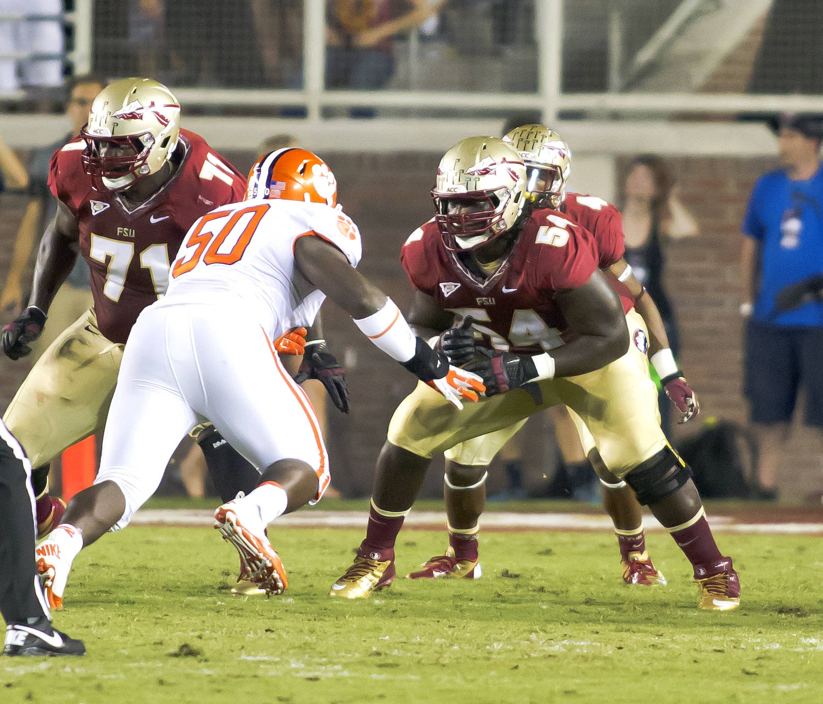 Tre' Jackson (54) blocking, FSU vs Clemson, 9/22/12 (Photo by Steve Musco)