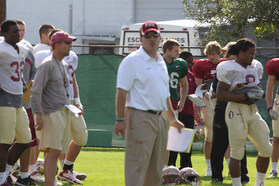 Head coach Jimbo Fisher at the first Champs Sports Bowl practice