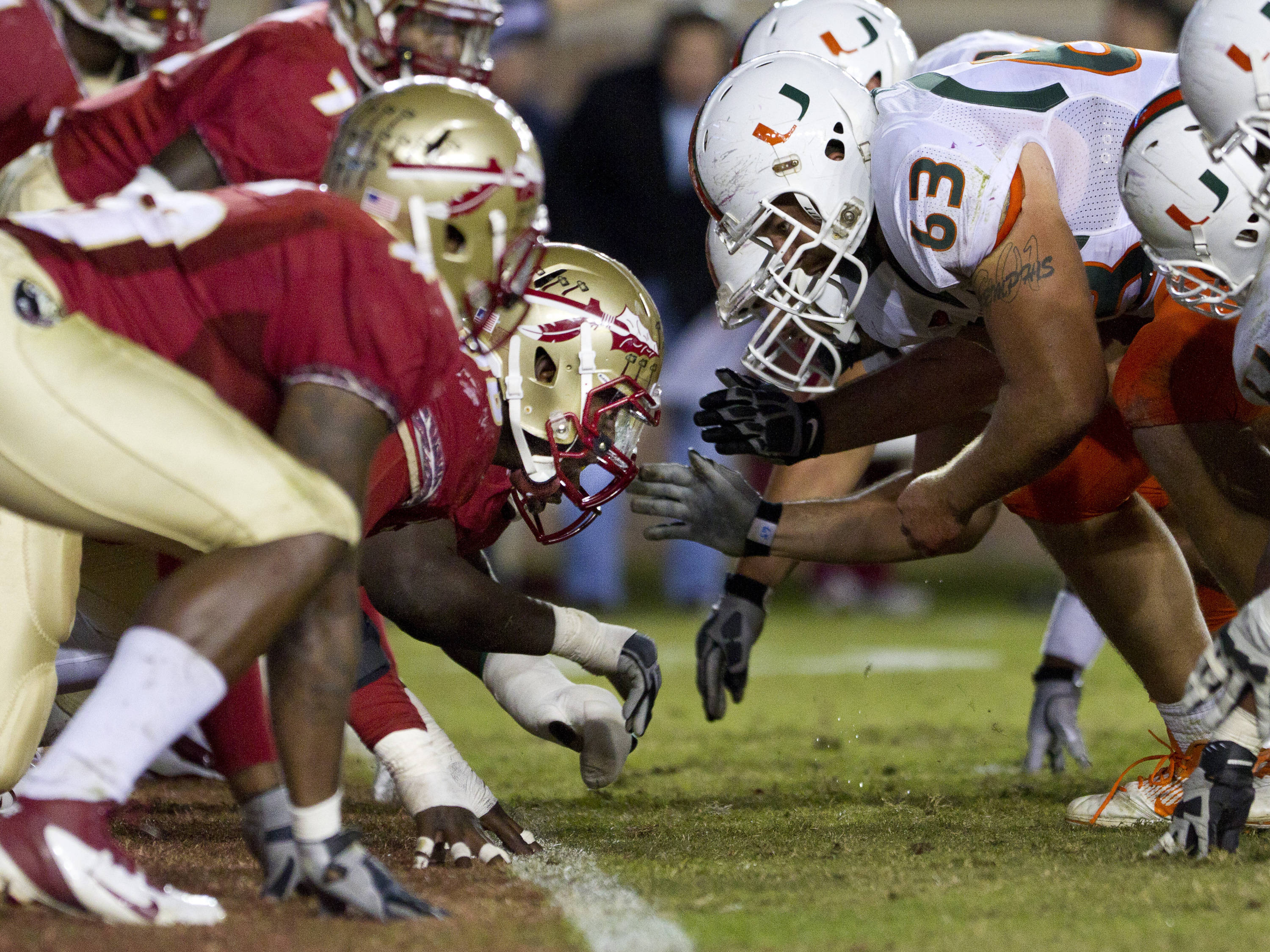 FSU's defense tries to stop a Miami touchdown on the goal line during the football game against Miami on November 12, 2011.