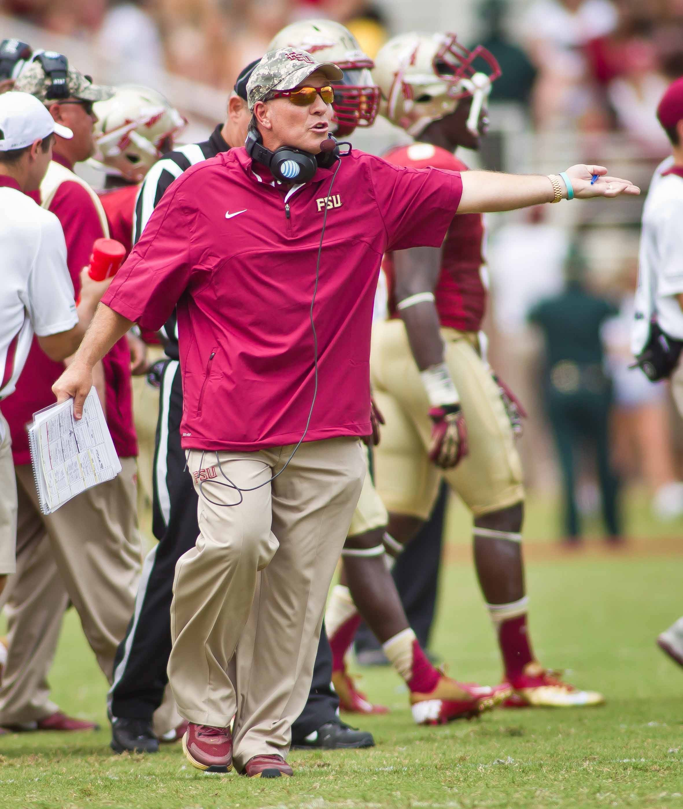 Jimbo Fisher expresses surprise about a call.