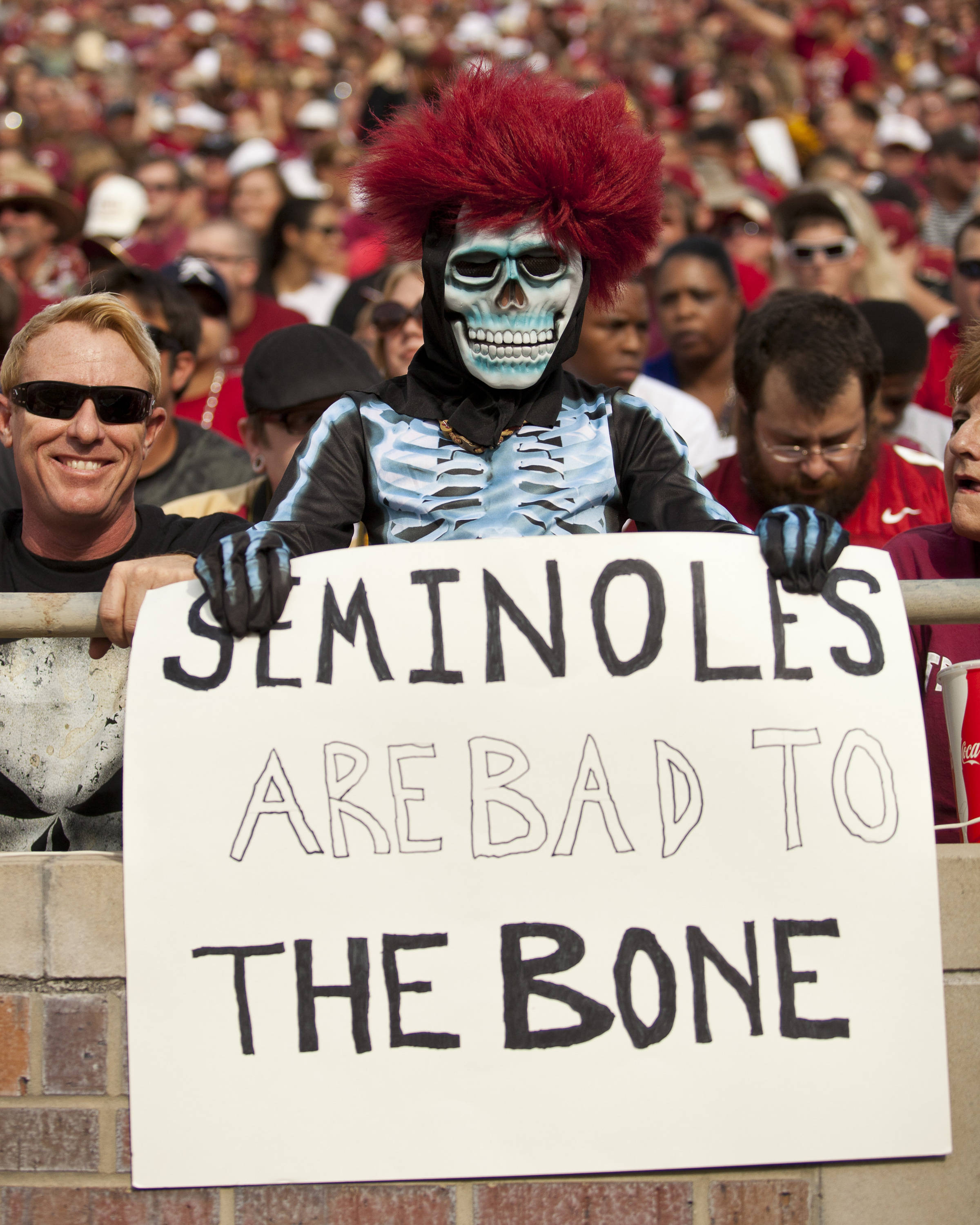 A costumed fan cheers on the Seminoles during FSU's 48-7 victory over Duke on October 27, 2012 in Tallahassee, Fla.