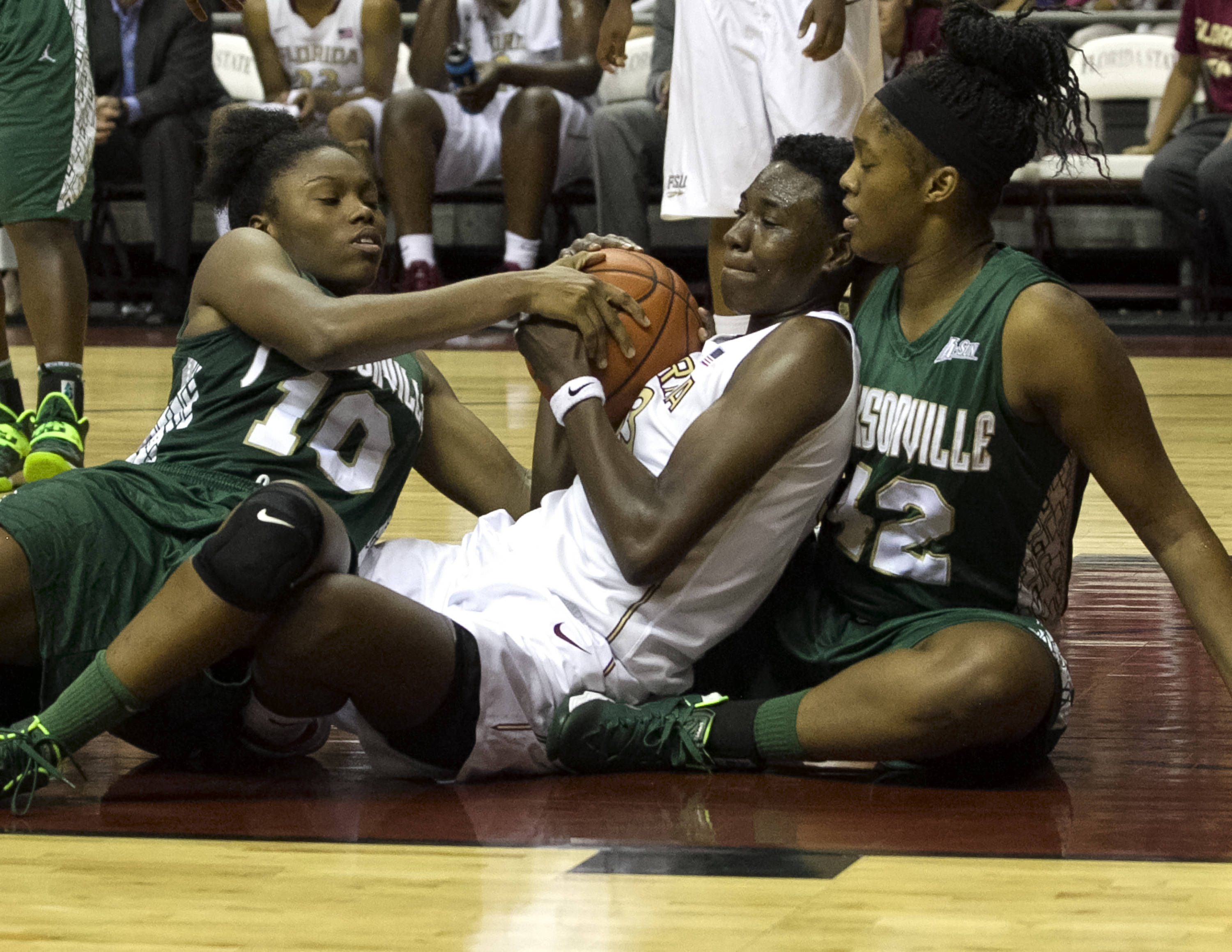Natasha Howard (33), fighting for a loose ball, FSU vs Jacksonville, 12-08-13,  (Photo by Steve Musco)