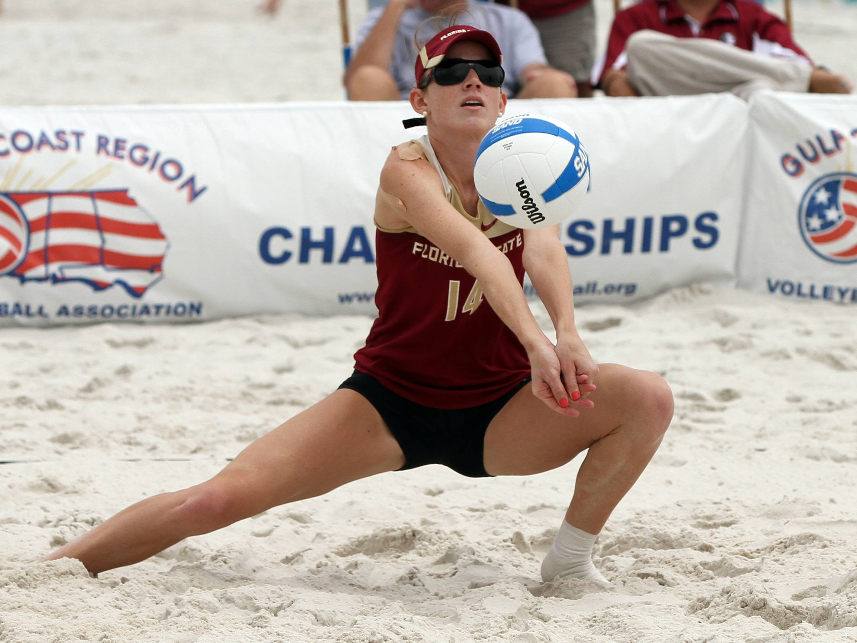 Mallory Kiley (14), AVCA Collegiate Sand Volleyball National Championships,  Gulf Shores, Alabama,05/03/13 . (Photo by Steve Musco)