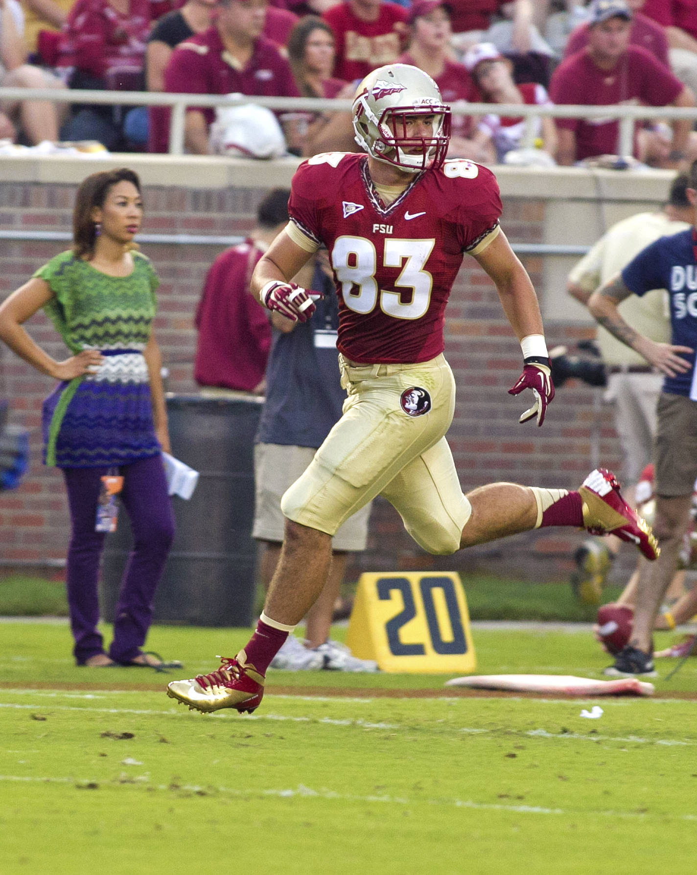 Christo Kourtzidis (83),  FSU vs Savannah State, 9/8/12 (Photo by Steve Musco)