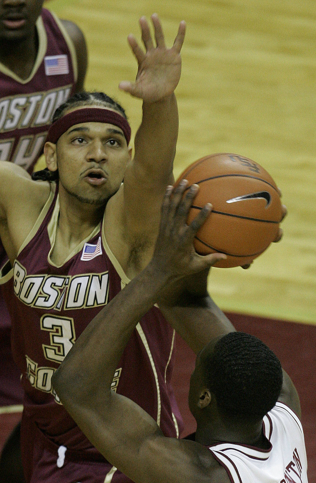 Boston College's Jared Dudley, top, blocks the shot of Florida State's Al Thornton during the first half of a college basketball game, Sunday, Feb. 11, 2007, in Tallahassee, Fla.(AP Photo/Phil Coale)