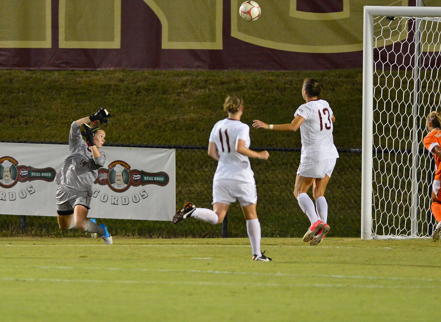 Kelsey Wys makes one of her five saves on the night against Florida.