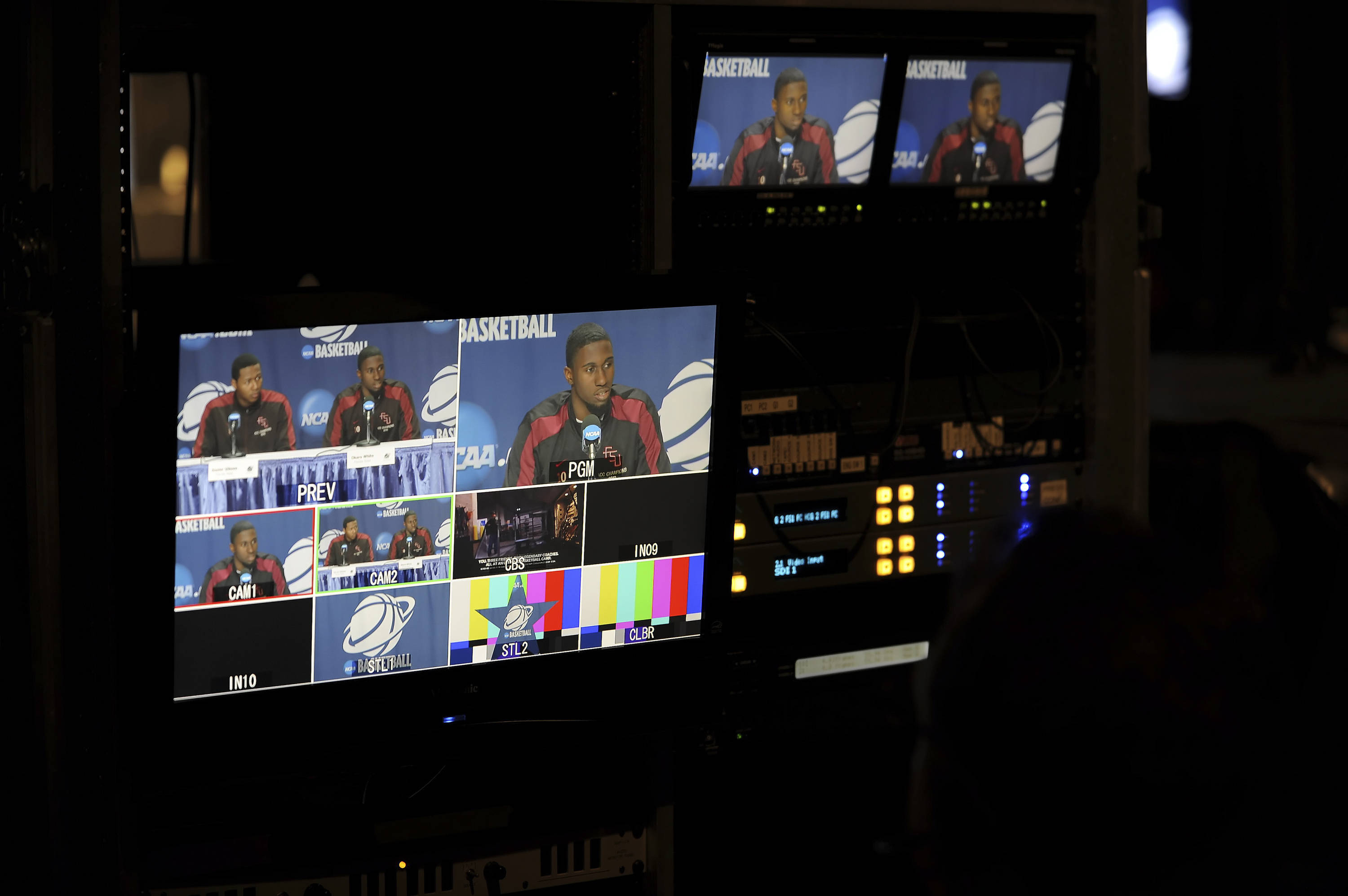 A look at Okaro White from the press conference control room.