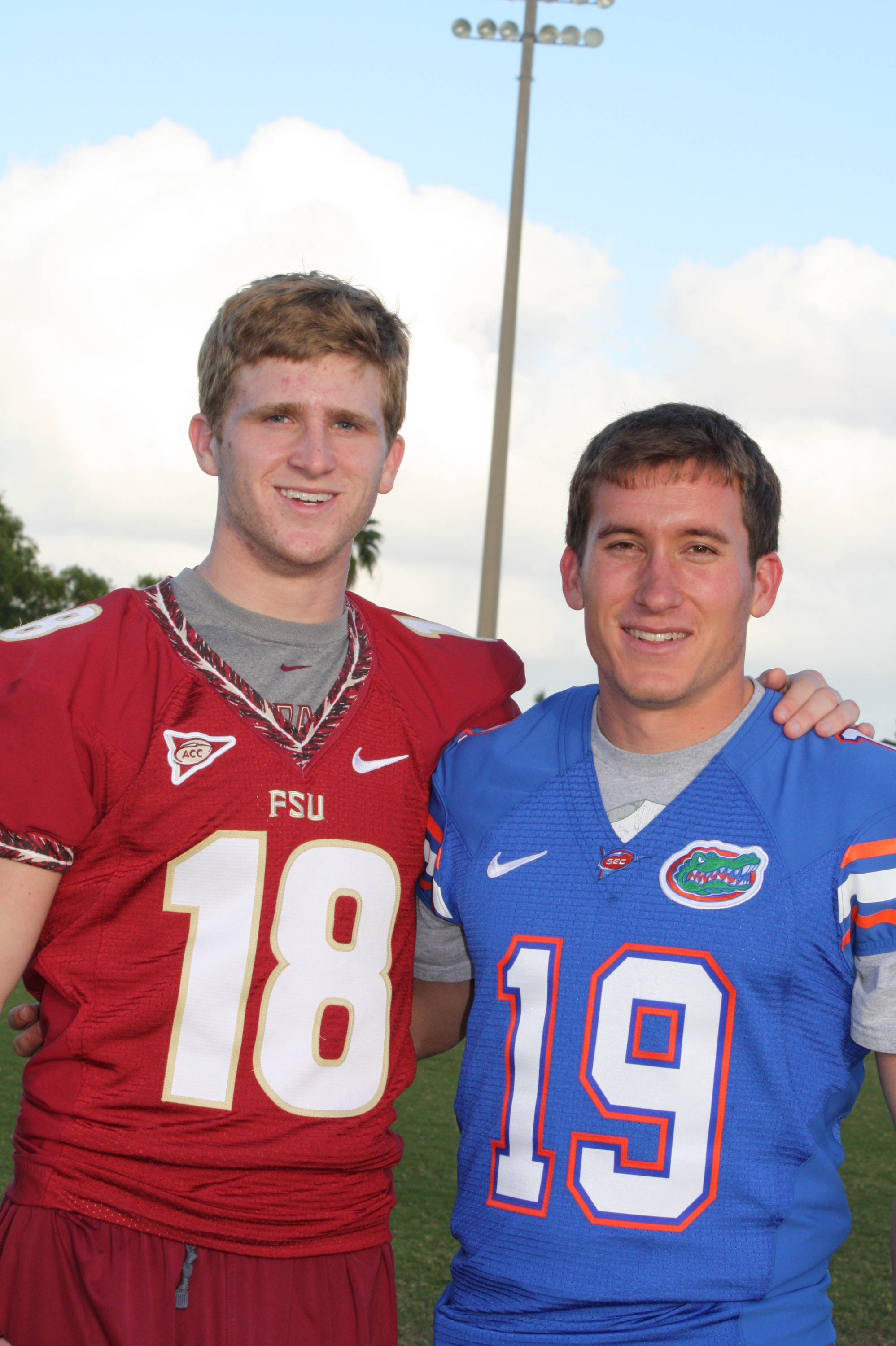 Rivals two weeks ago, Hopkins and Florida's Caleb Sturgis had a chance to spend time in a less stressful environment.