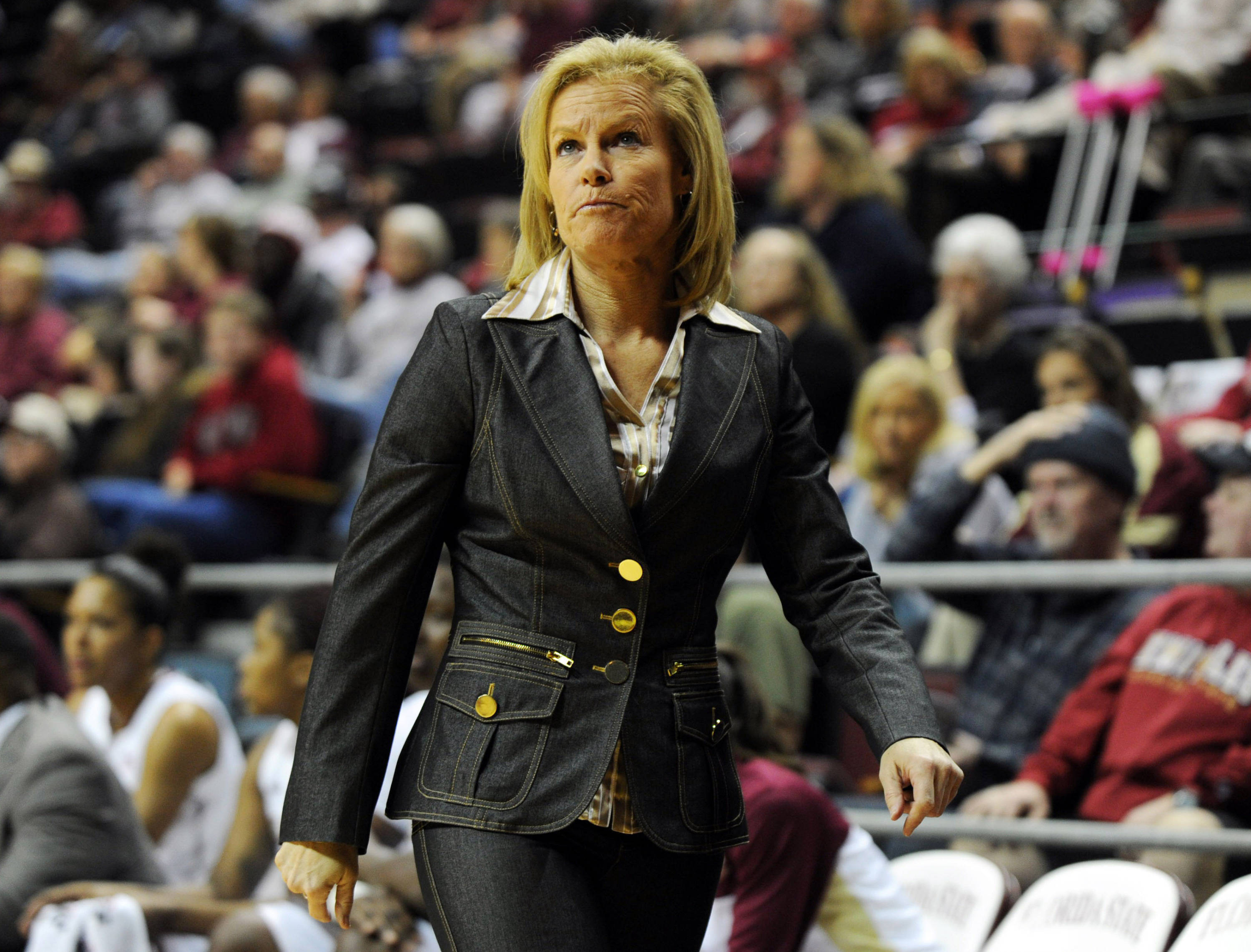 Jan 23, 2014; Tallahassee, FL, USA; Florida State Seminoles head coach Sue Semrau during the first half of the game against the Duke Blue Devils at the Donald L. Tucker Center (Tallahassee). Mandatory Credit: Melina Vastola-USA TODAY Sports
