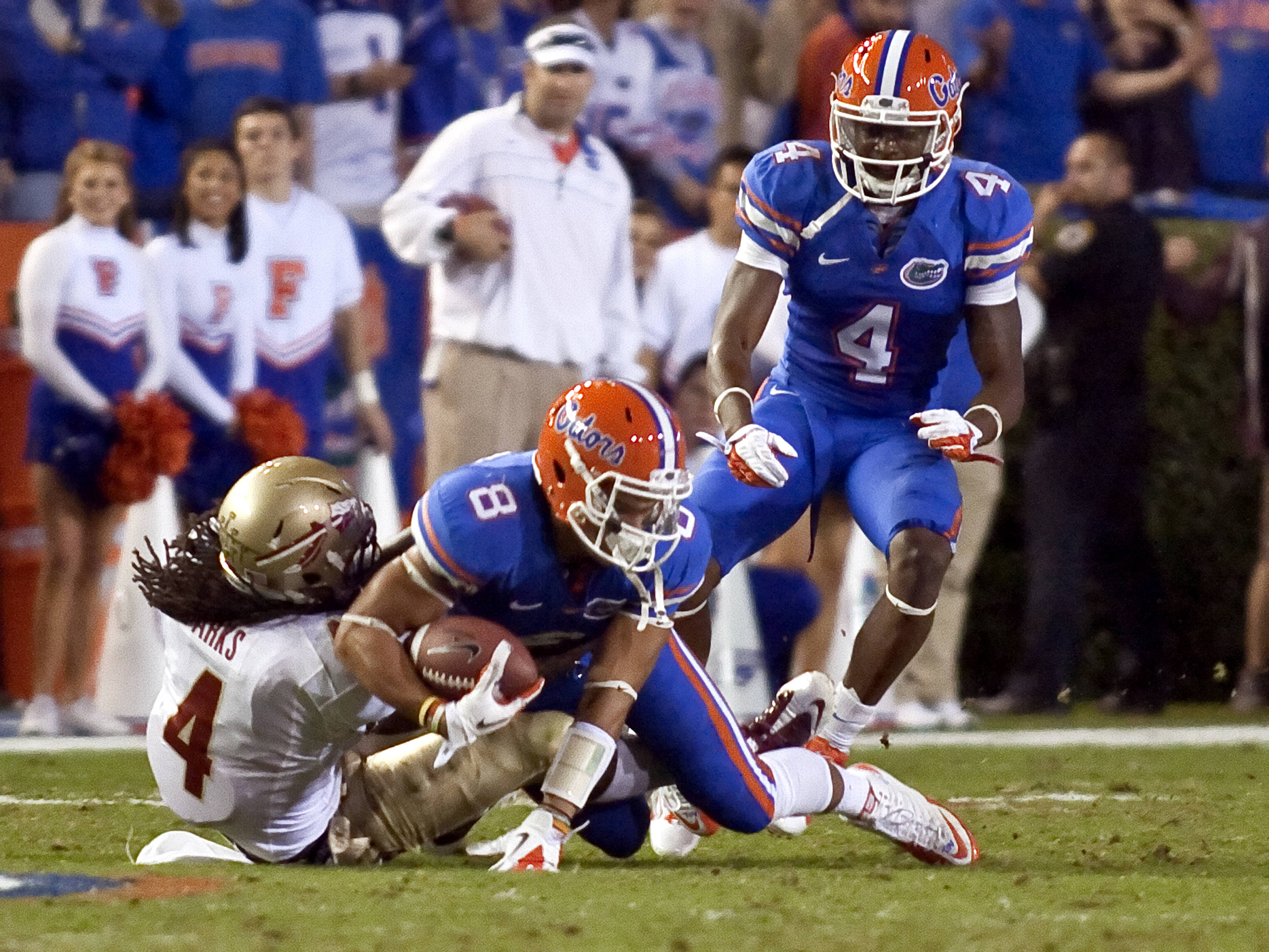 Terrance Parks (4) with a huge tackle for a loss stopping a Florida drive, FSU vs Florida, 11/26/2011