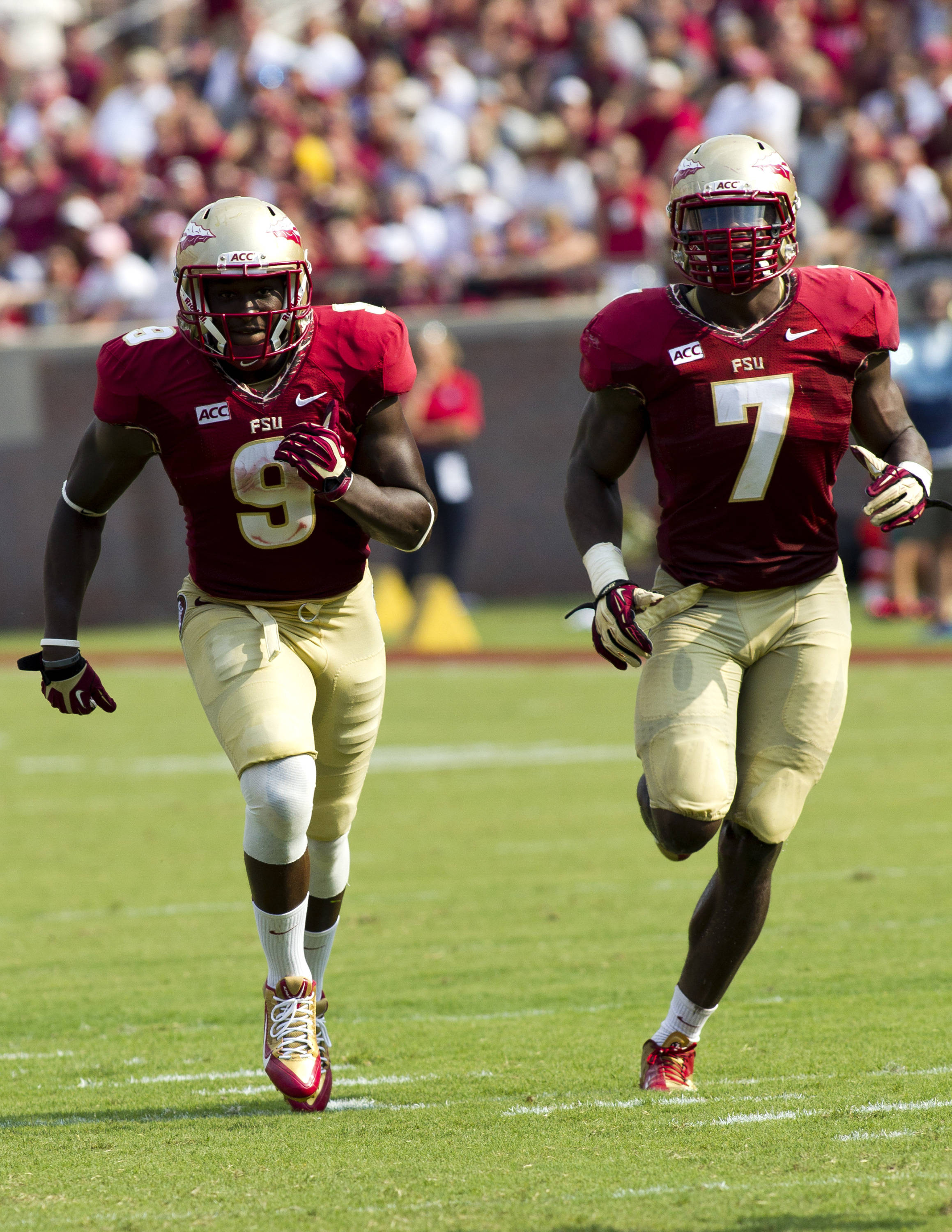 Karlos Williams (9), Christian Jones (7), FSU vs Nevada,  9-14-13, (Photo by Steve Musco)