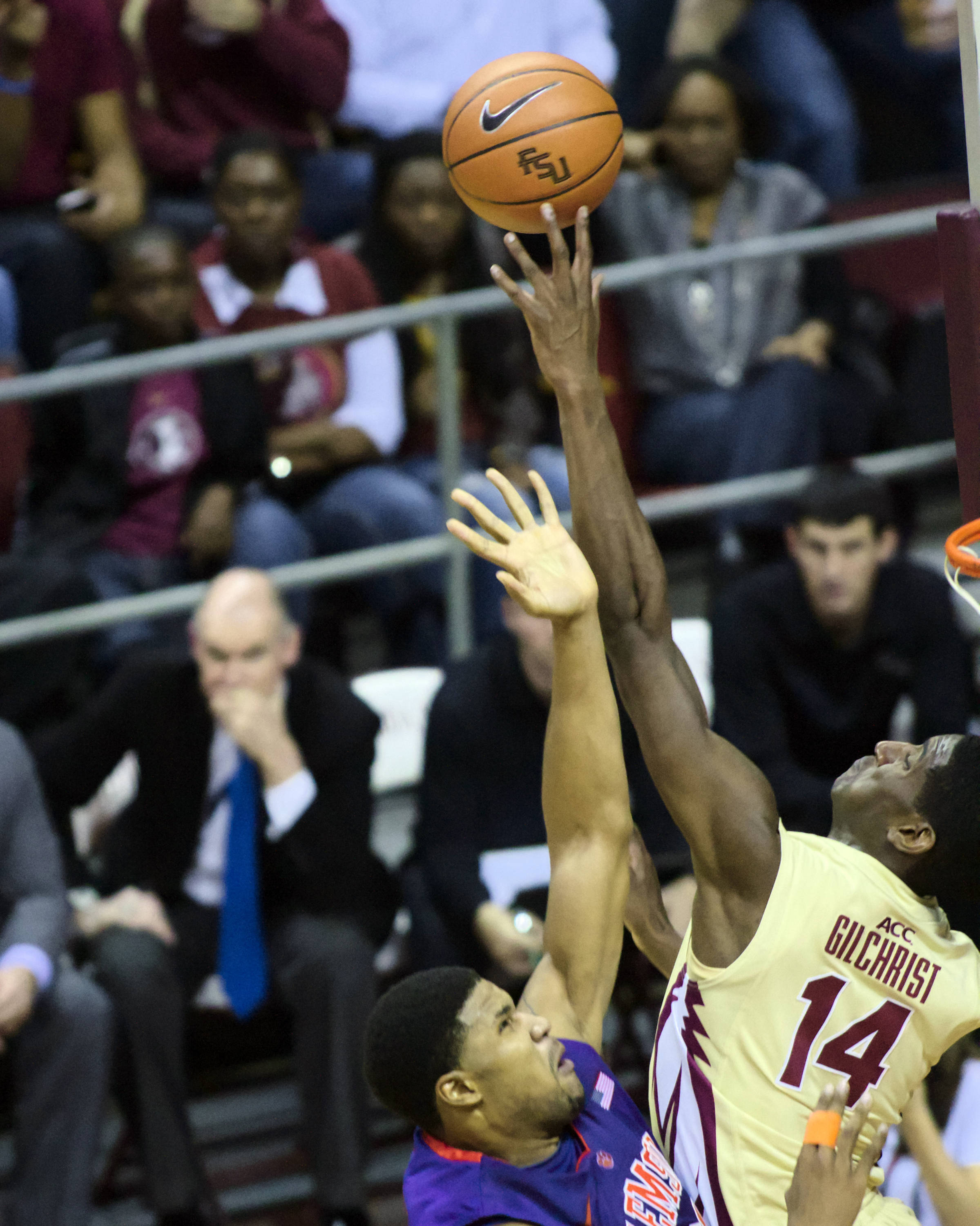 Robert Gilchrist (14) with a block, FSU vs Clemson, 01/24/13. (Photo by Steve Musco)