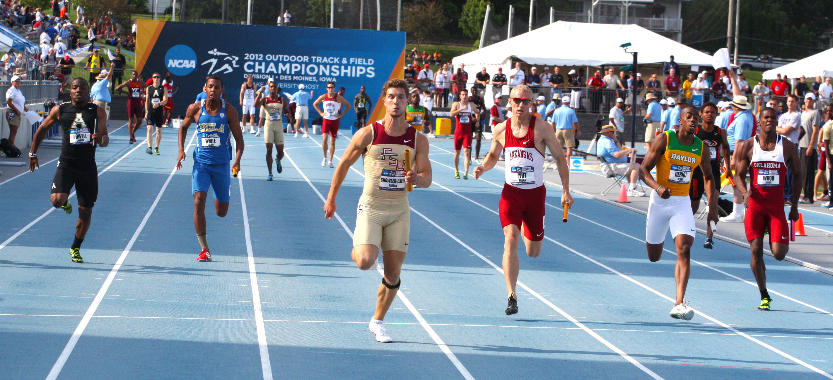 Kieran Showler-Davis brings home the baton as FSU wins its NCAA Championship semifinal heat.