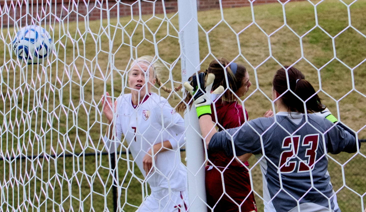 Dagny Brynjarsdottir watches her header go into the net for a goal, FSU vs BC, ACC Tournament, 10/28/12. (Photo by Steve Musco)