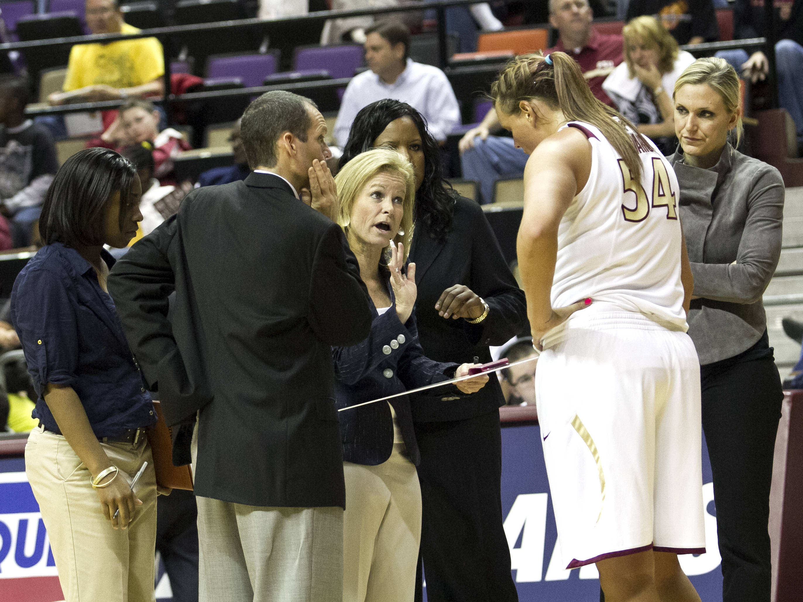 Head Coach Sue Semrau, Cierra Bravard (54), FSU vs NC,  02/15/2012