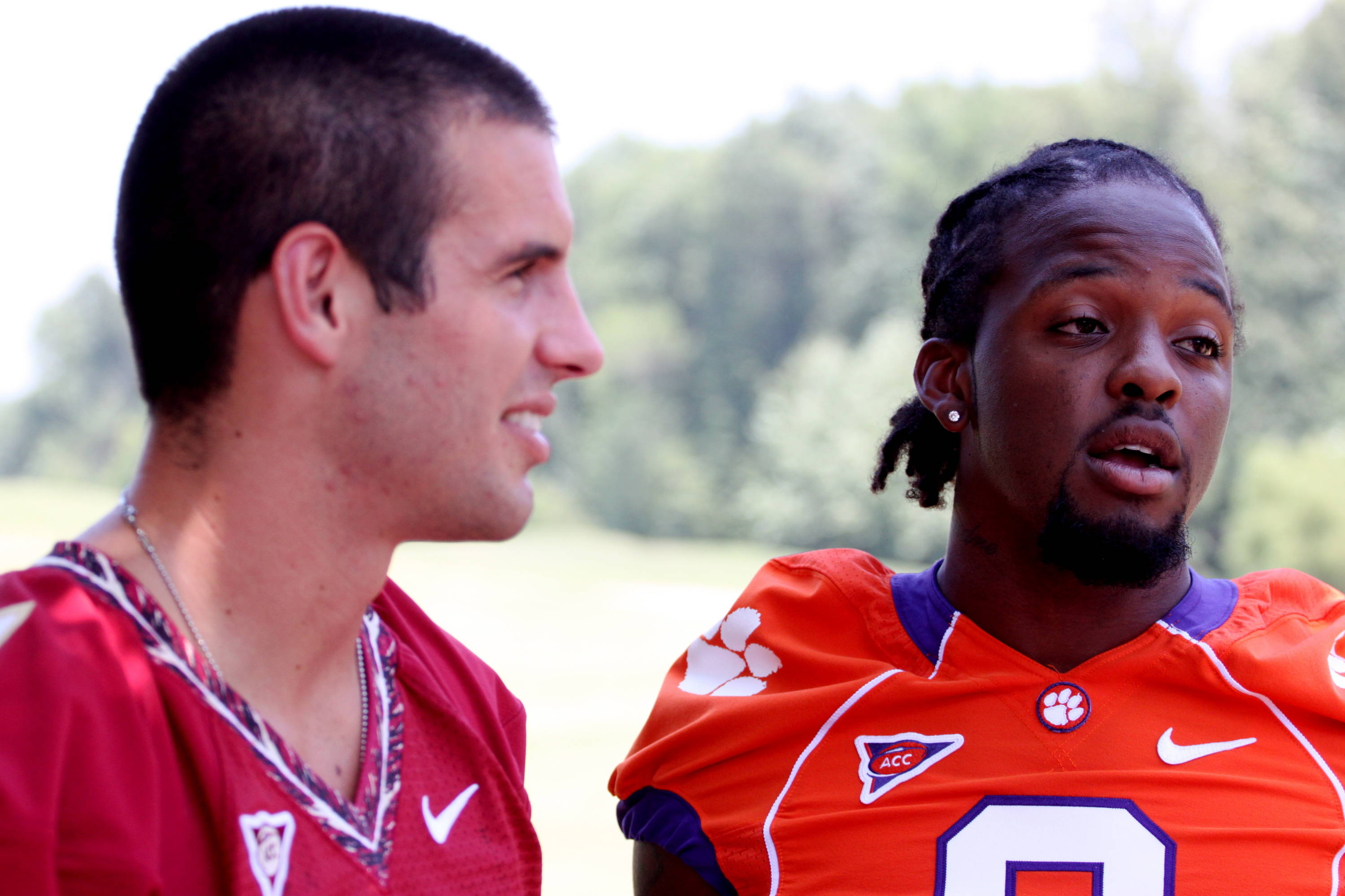 Christian Ponder and Clemson Tiger's safety DeAndre McDaniel.