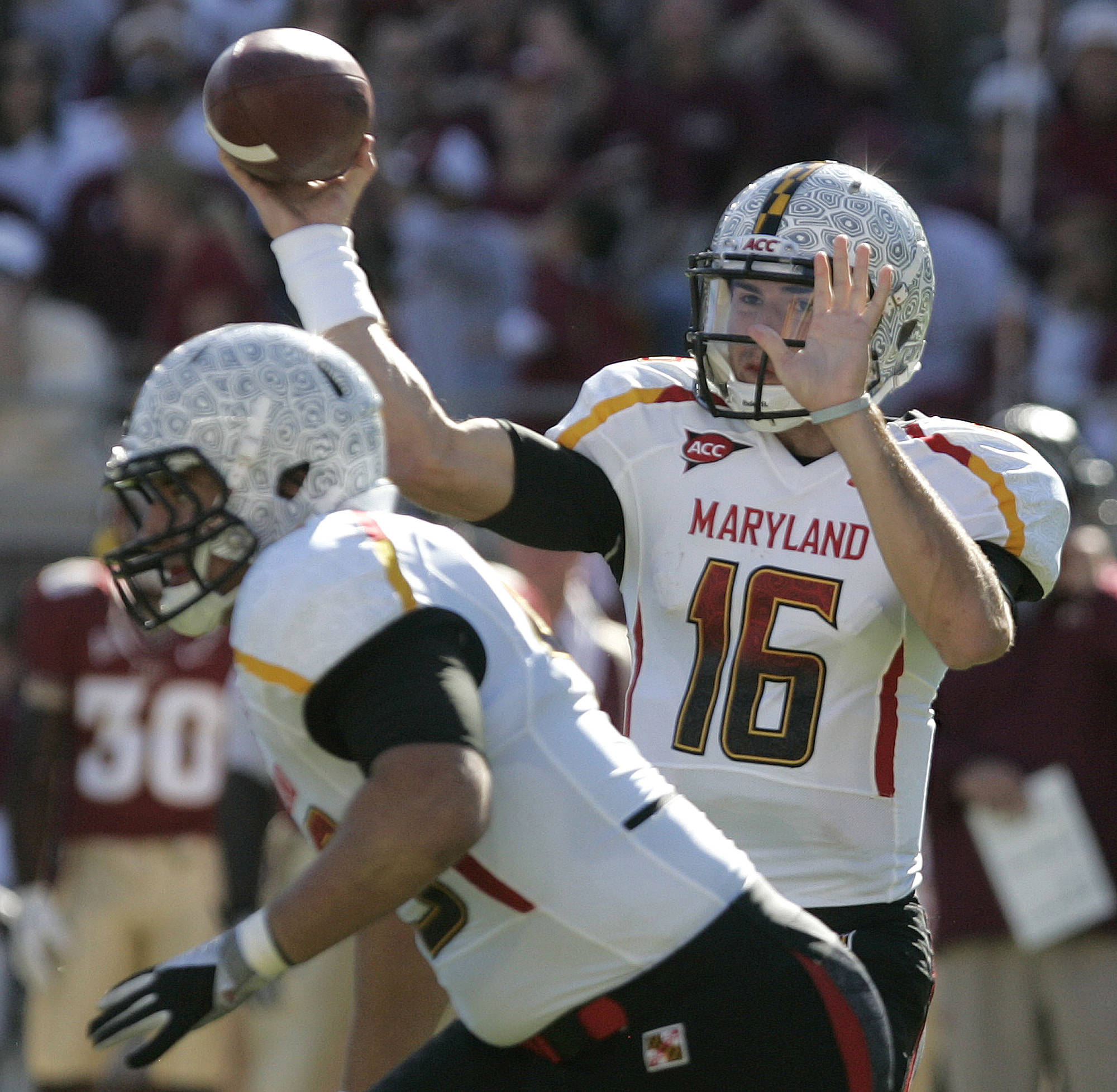 Maryland's C.J. Brown attempts a pass against Florida State.(AP Photo/Steve Cannon)