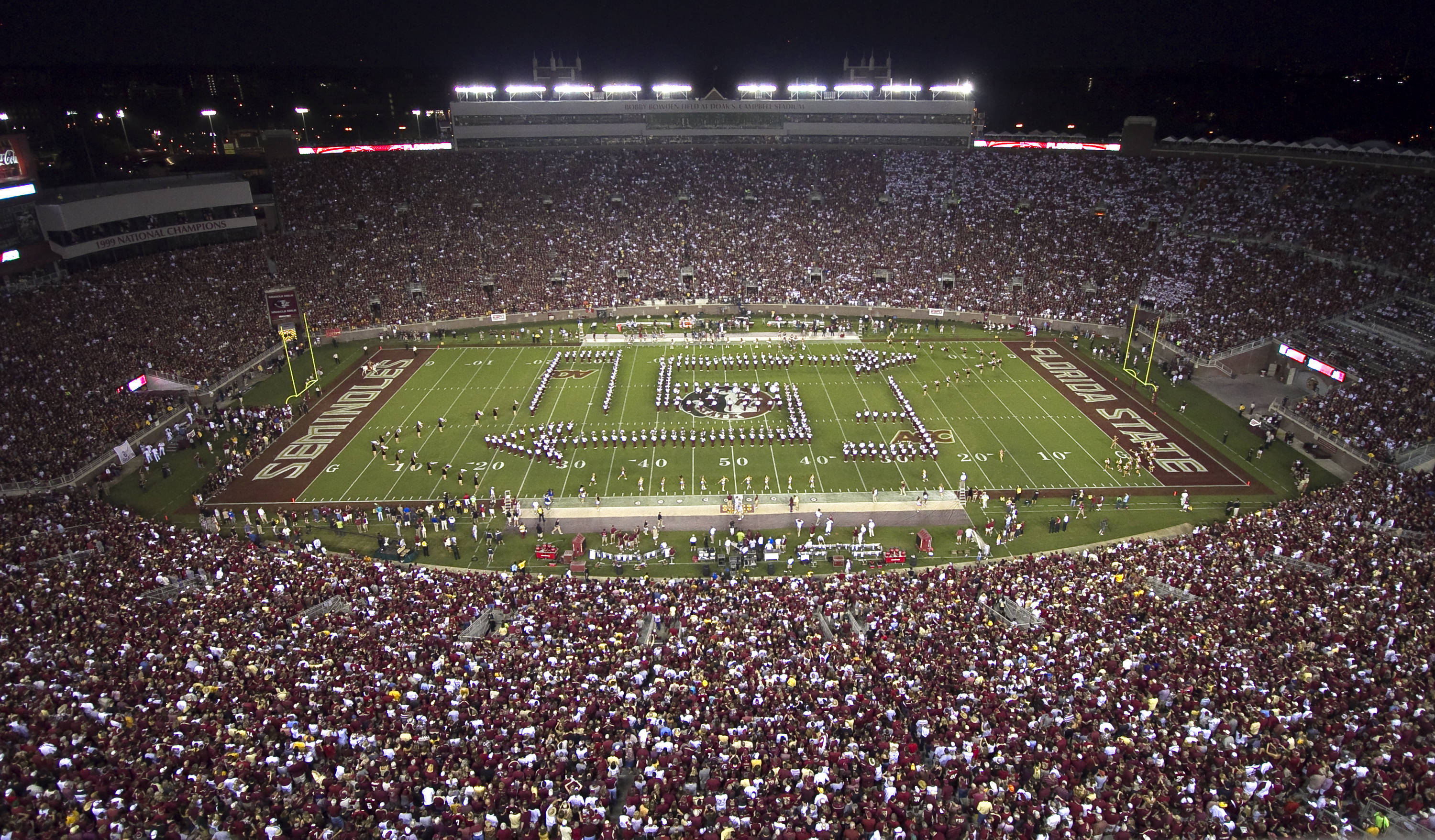 Marching Chiefs before a sellout crowd. FSU vs Oklahoma 9/18/11 Steve Musco