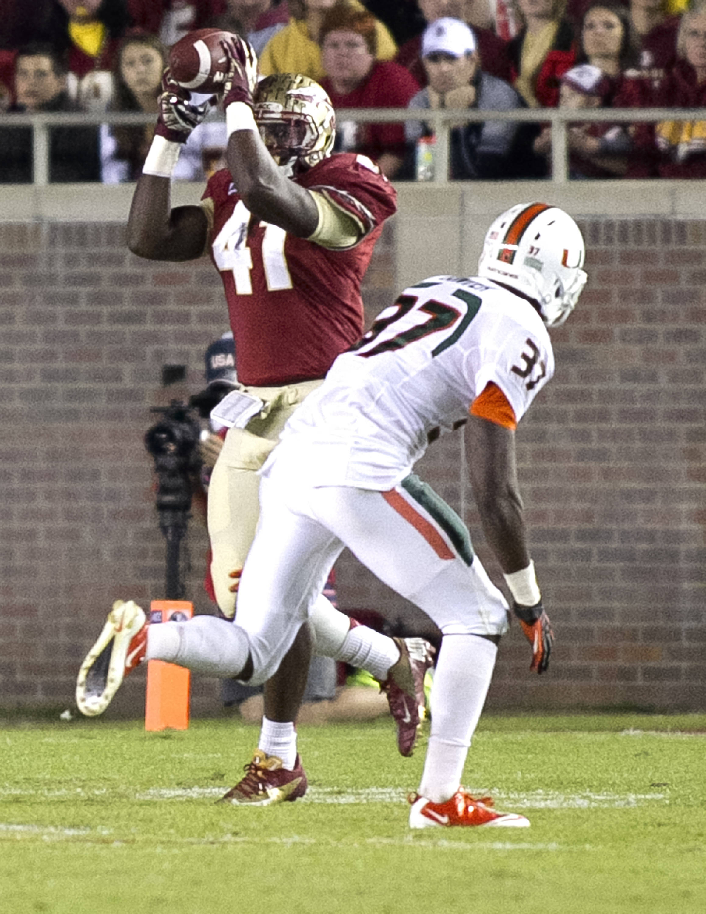 Chad Abram (41), FSU vs Miami,  11-2-13, (Photo by Steve Musco)
