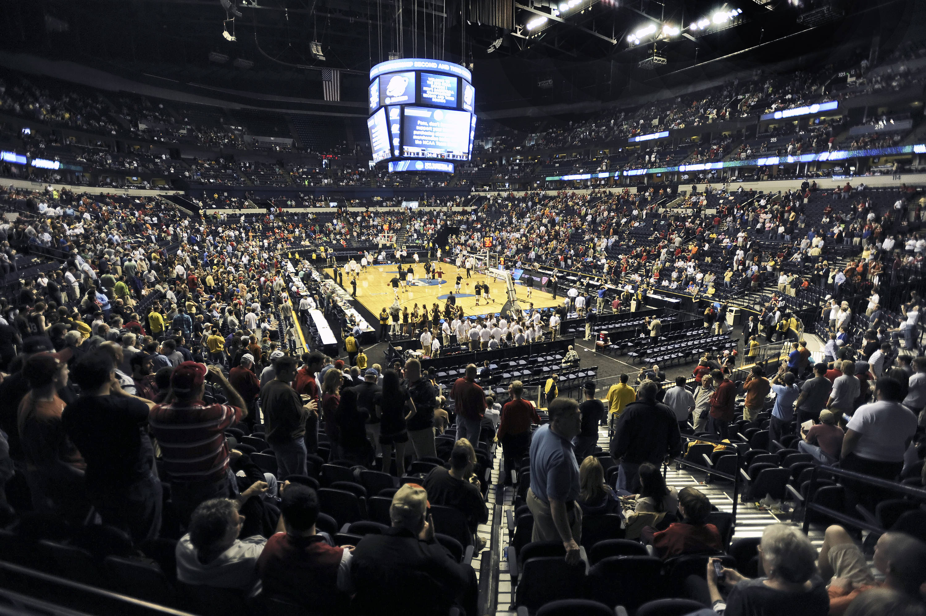 A look at the crowd inside the Bridgestone Arena.