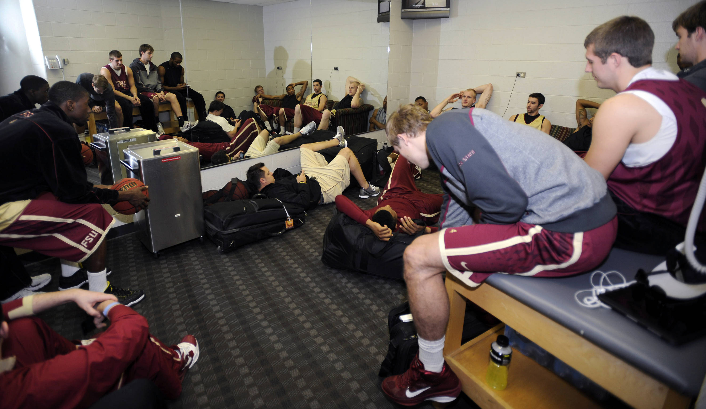 The team lounging around before practice