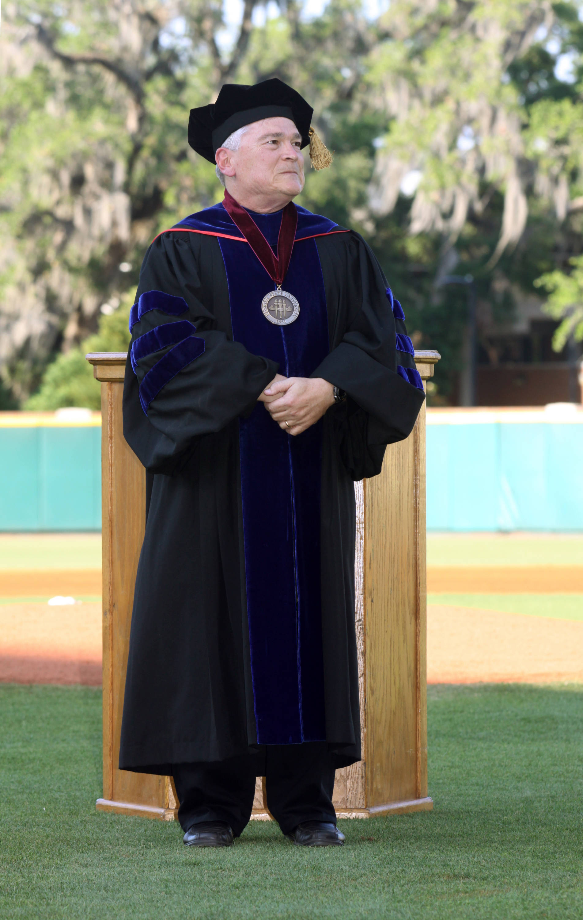 2011 Spring Graduation Ceremony held at Dick Howser Stadium to honor the graduating baseball seniors. FSU President Dr. Eric J. Barron