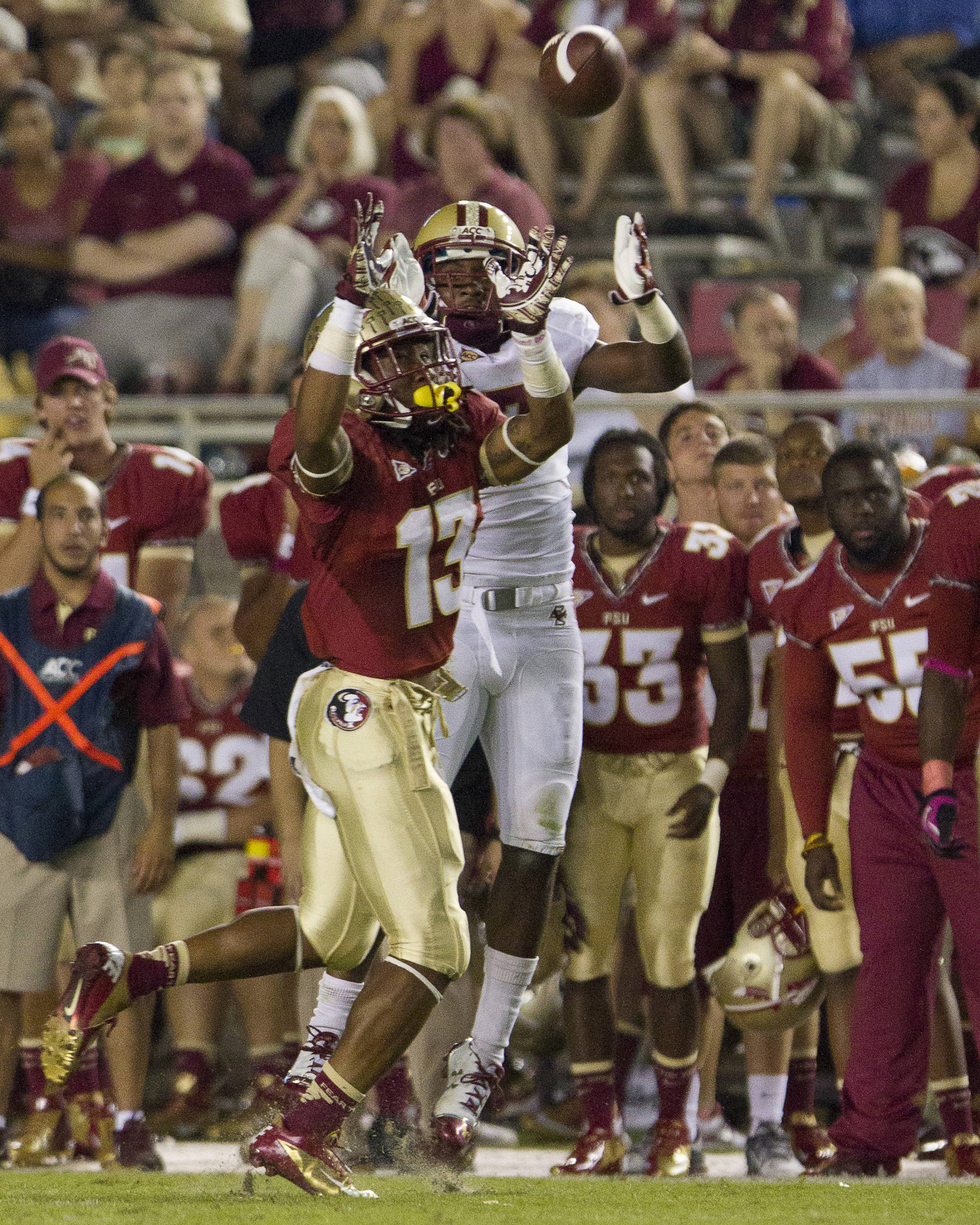 Ronald Darby (13) makes a catch during the FSU vs Boston College football game on October 13, 2012 in Tallahassee, Fla.