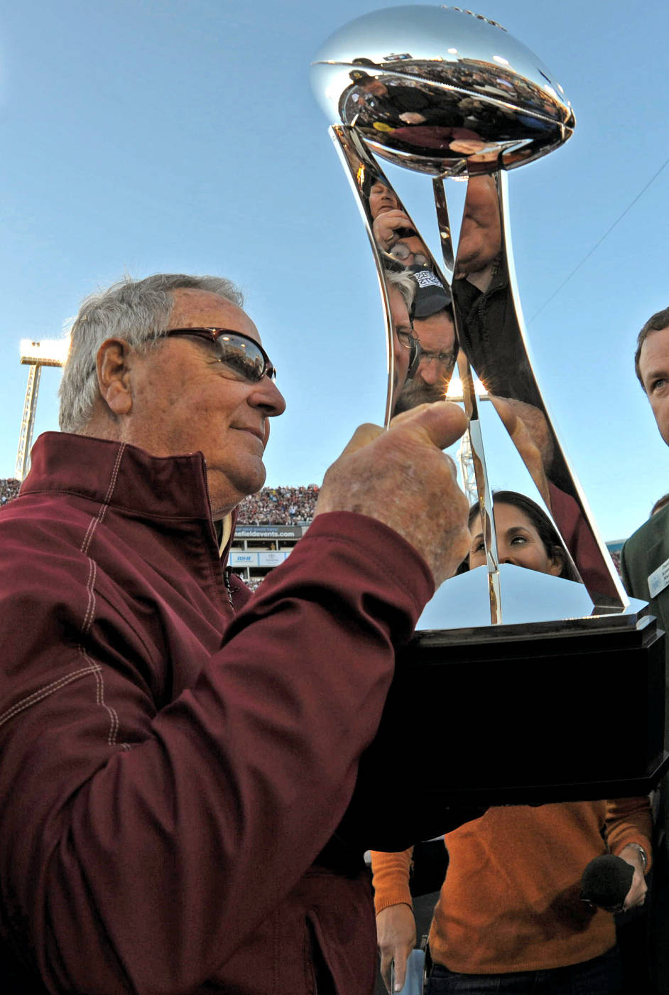 Bobby Bowden with the Gator Bowl Trophy