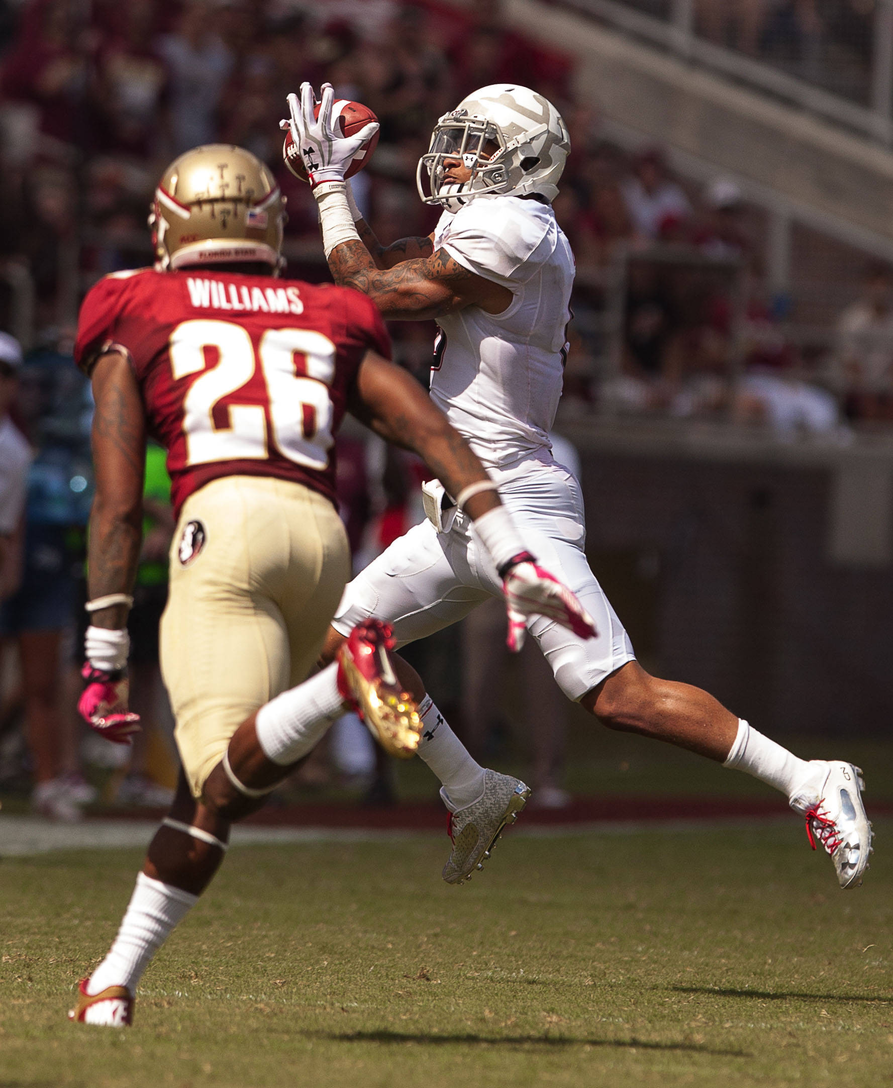 P.J. Williams (26) defends against a Maryland receiver during FSU Football's 63-0 shutout of Maryland on Saturday, October 5, 2013 in Tallahassee, Fla.