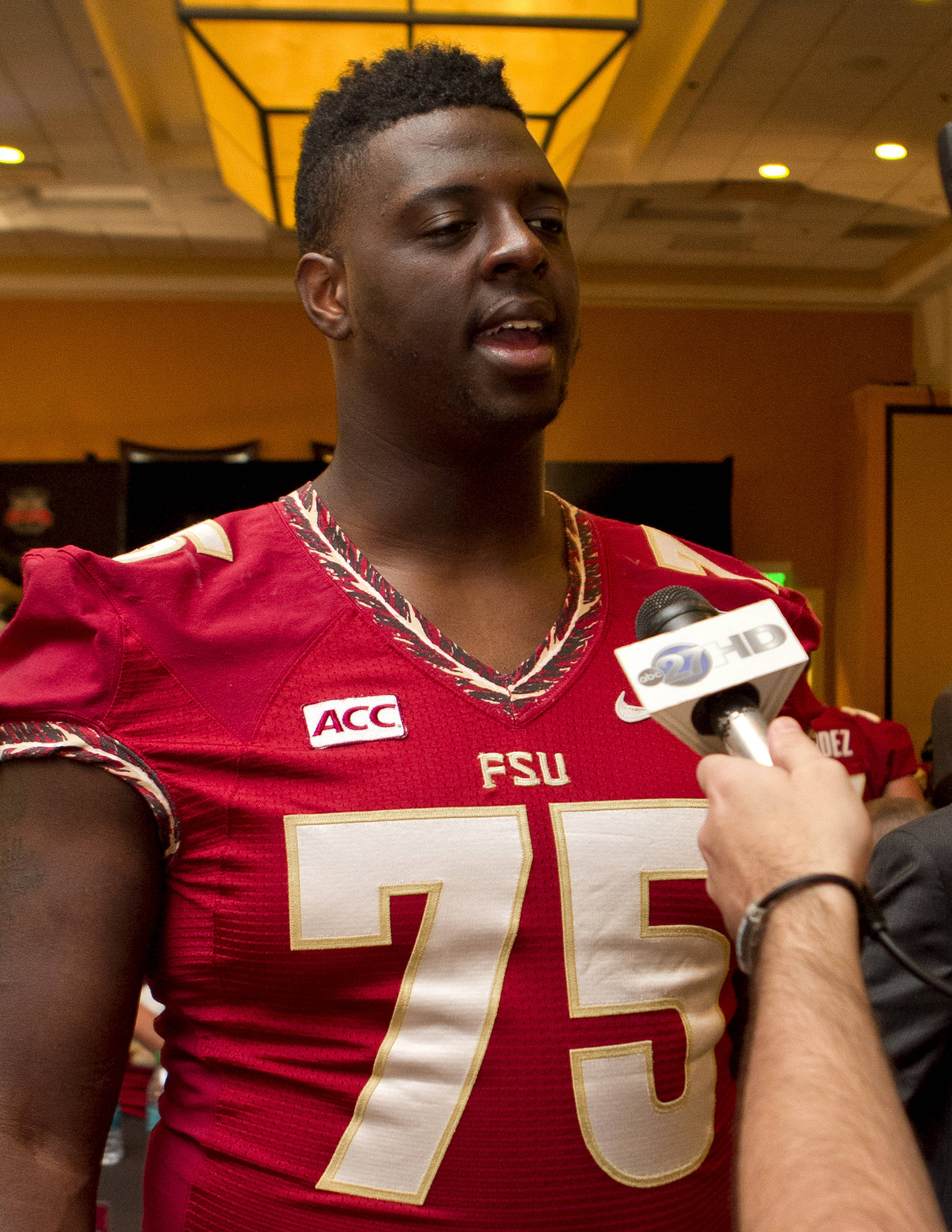 Cameron Erving (75), FSU at BCS Championship Media Day,  1-04-14,  (Photo by Steve Musco)