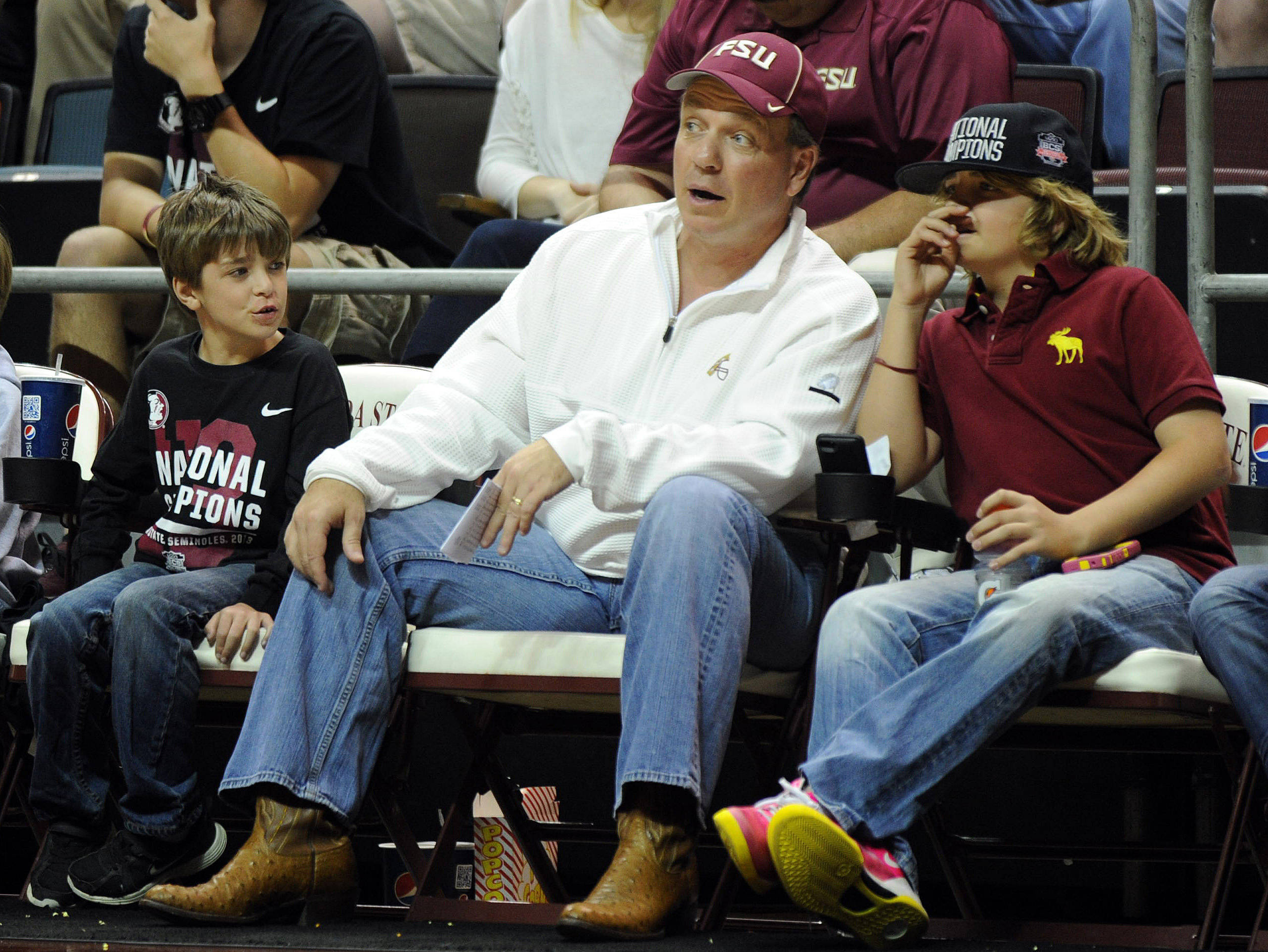Florida State Seminoles head football coach Jimbo Fisher, sons Ethan and Trey watch the Florida State game. (Melina Vastola-USA TODAY Sports)