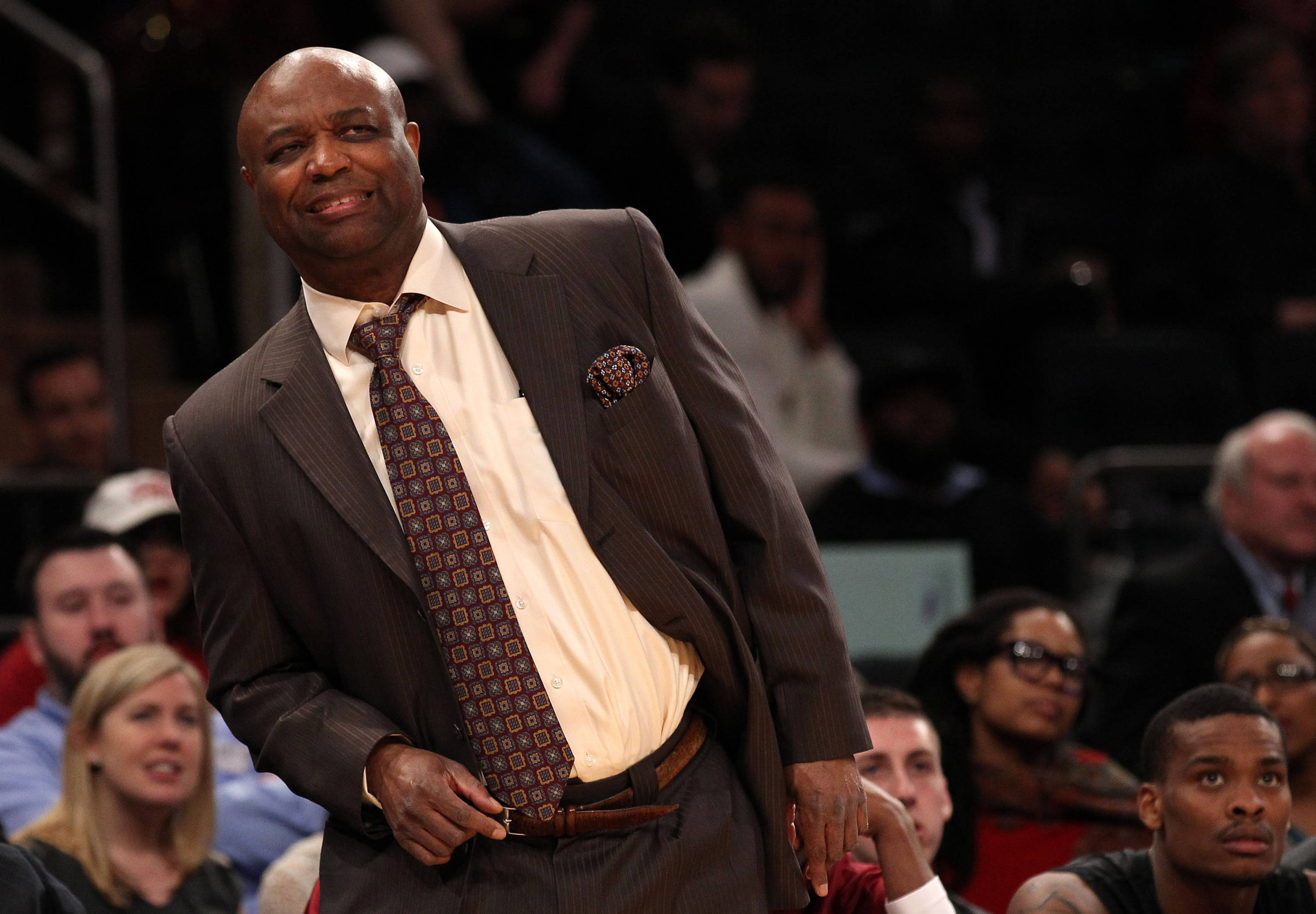 Apr 1, 2014; New York, NY, USA; Florida State Seminoles head coach Leonard Hamilton watches a free throw by the Minnesota Golden Gophers during the first half at Madison Square Garden. Mandatory Credit: Adam Hunger-USA TODAY Sports